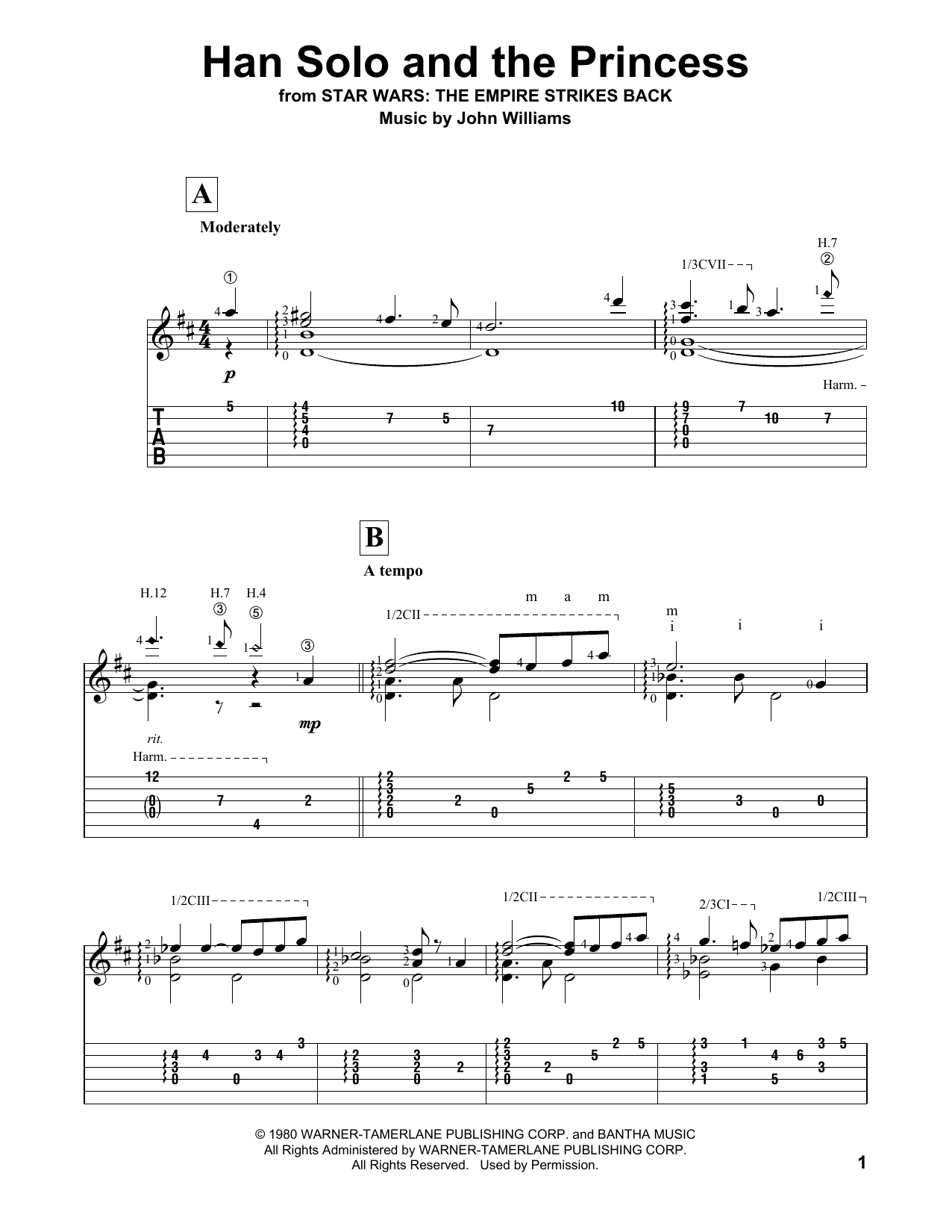 Han Solo And The Princess (from Star Wars: Episode V - The Empire Strikes Back) Sheet Music