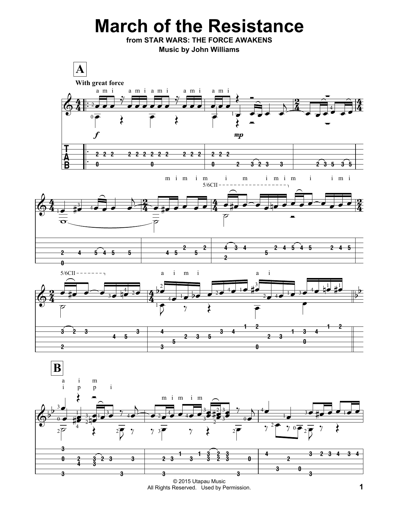 March Of The Resistance Sheet Music John Williams Guitar Tab