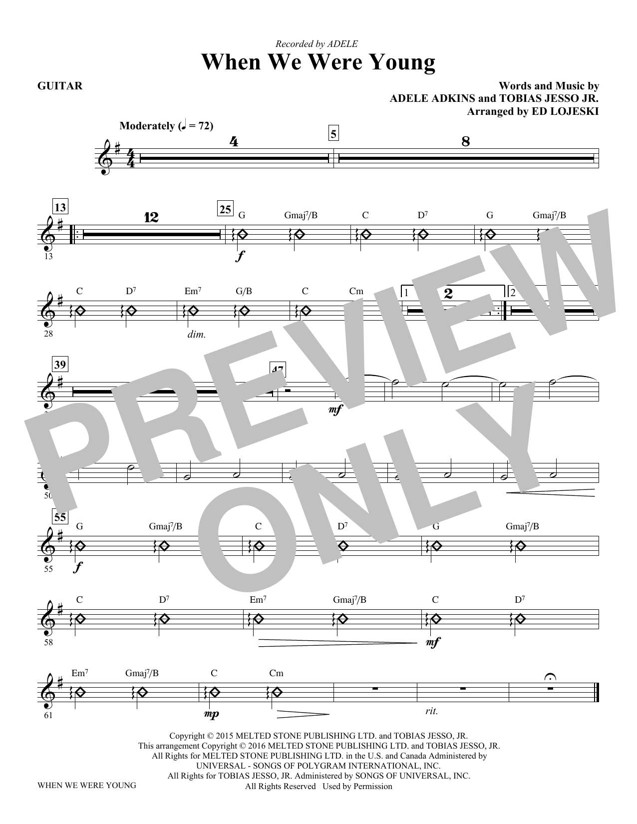 When We Were Young - Guitar Sheet Music