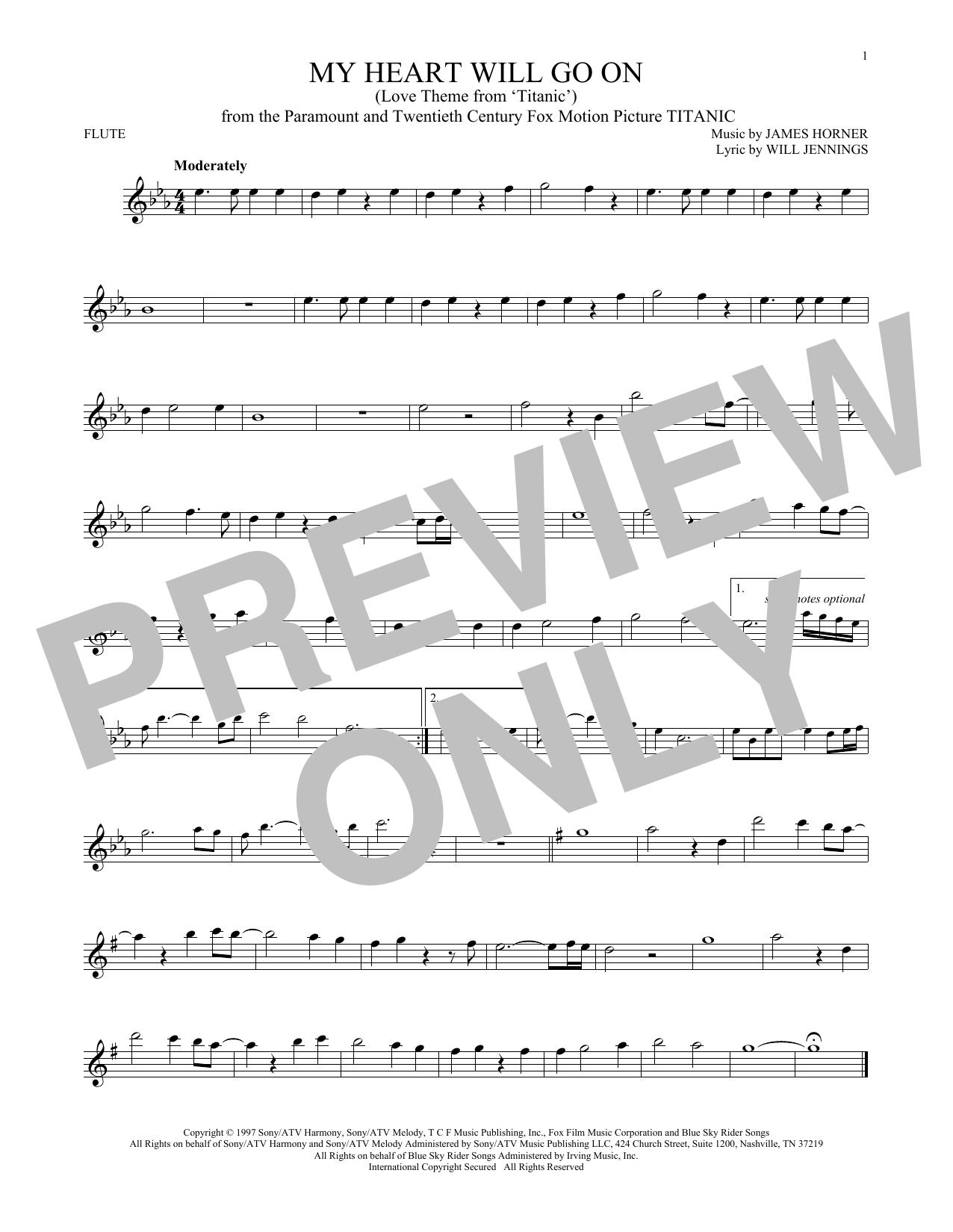 Partition flûte My Heart Will Go On (Love Theme From 'Titanic') de Celine Dion - Autre
