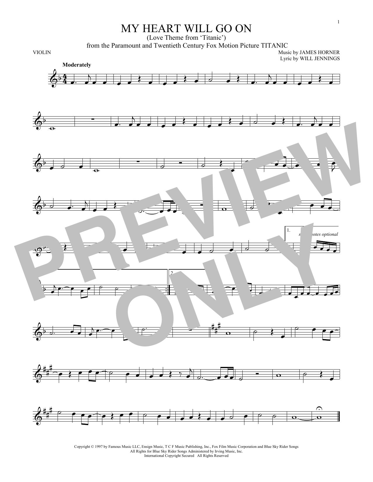 Partition autre My Heart Will Go On (Love Theme From 'Titanic') de Celine Dion - Autre