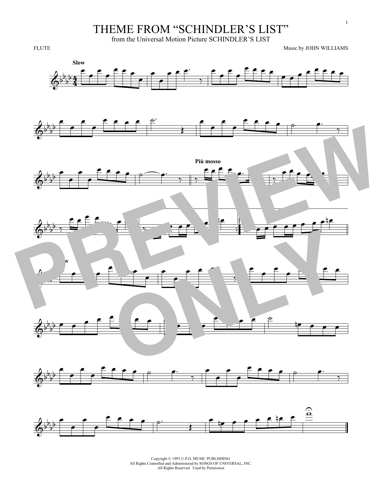 Theme From Schindler's List (Flute Solo)