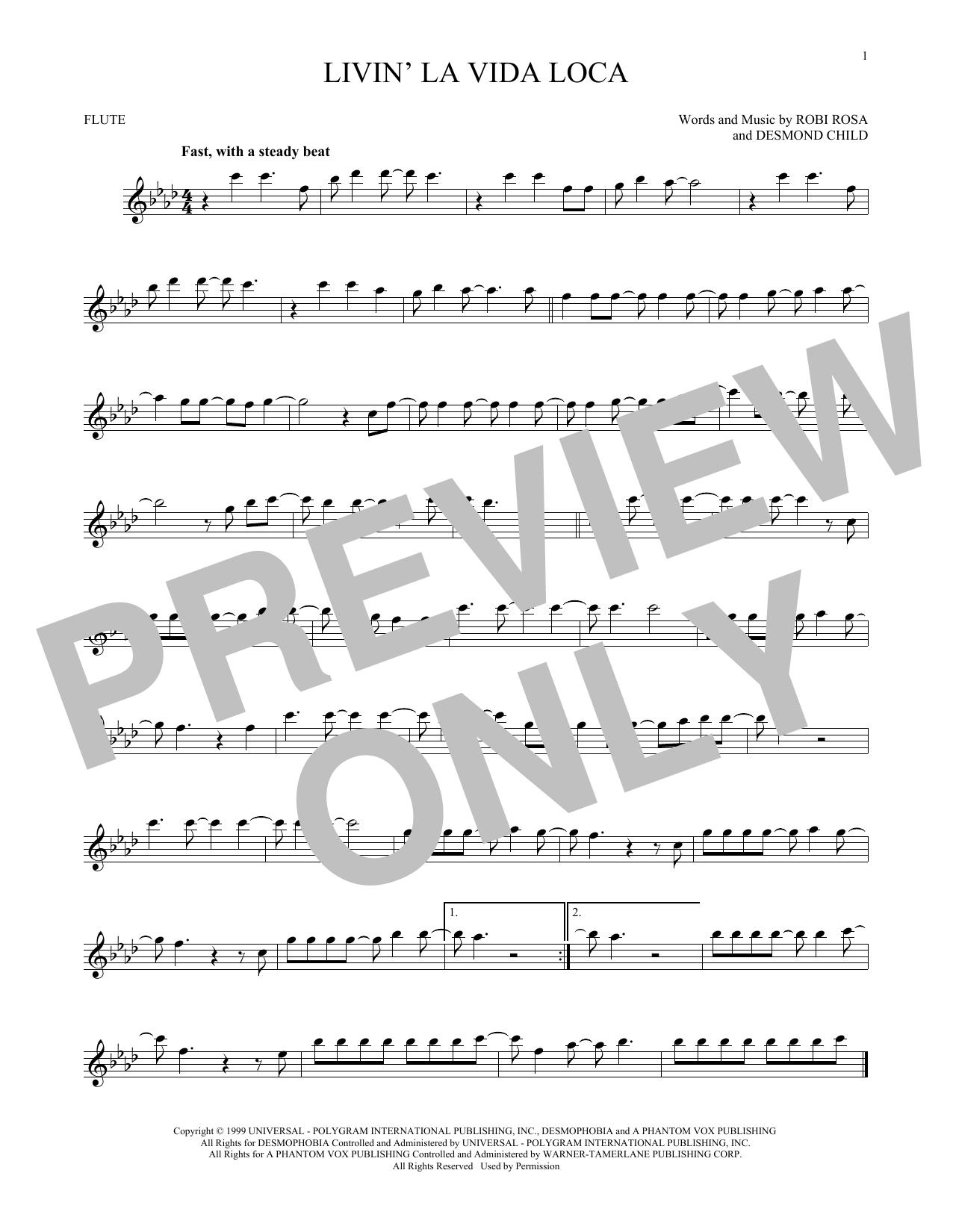 Partition flûte Livin' La Vida Loca de Ricky Martin - Flute traversiere