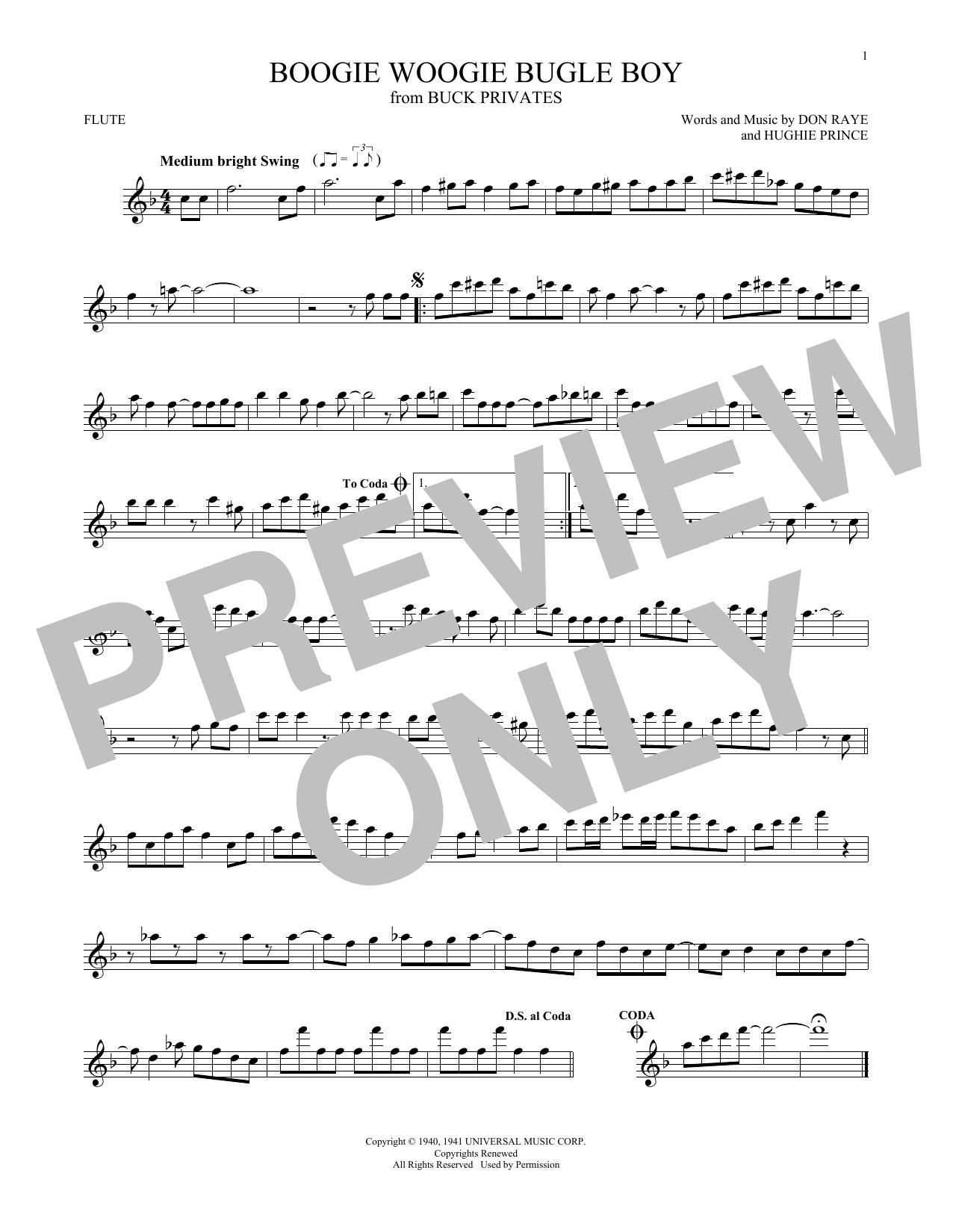 Partition flûte Boogie Woogie Bugle Boy de The Andrews Sisters - Flute traversiere