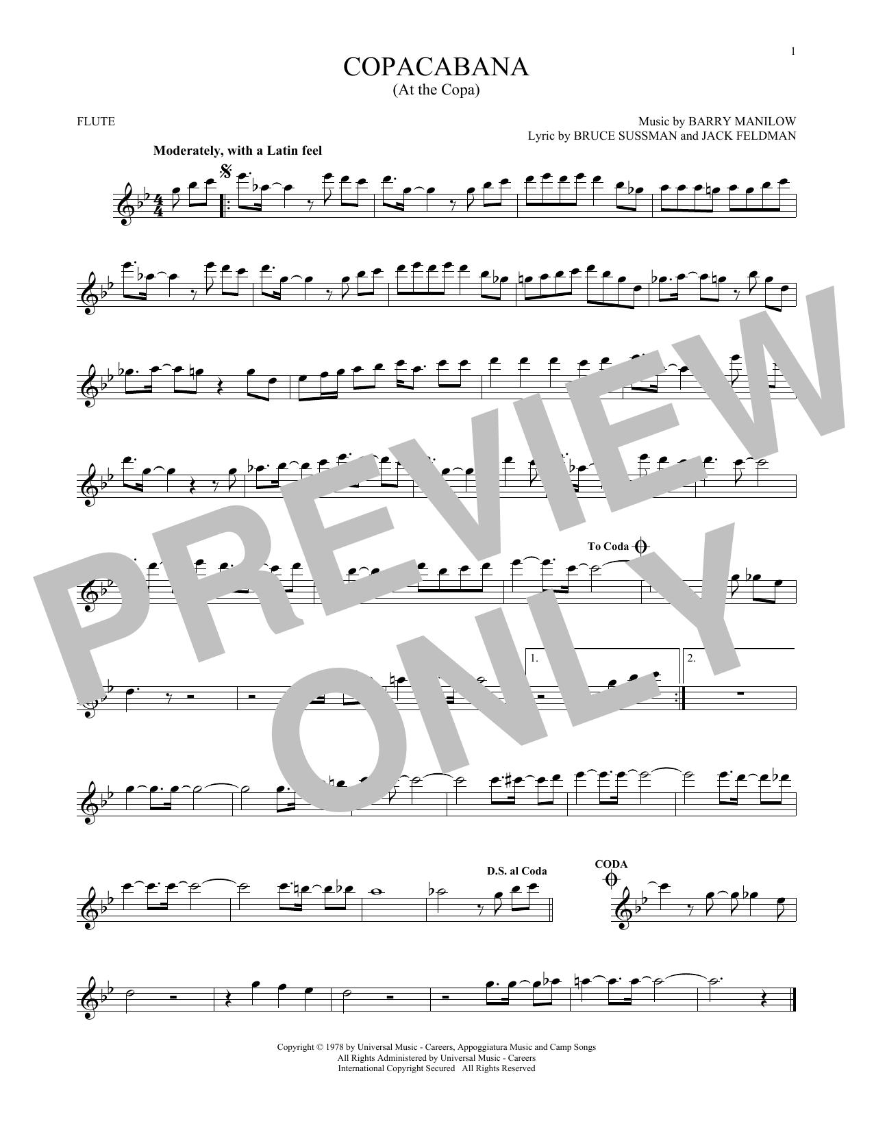 Partition flûte Copacabana (At The Copa) de Barry Manilow - Flute traversiere