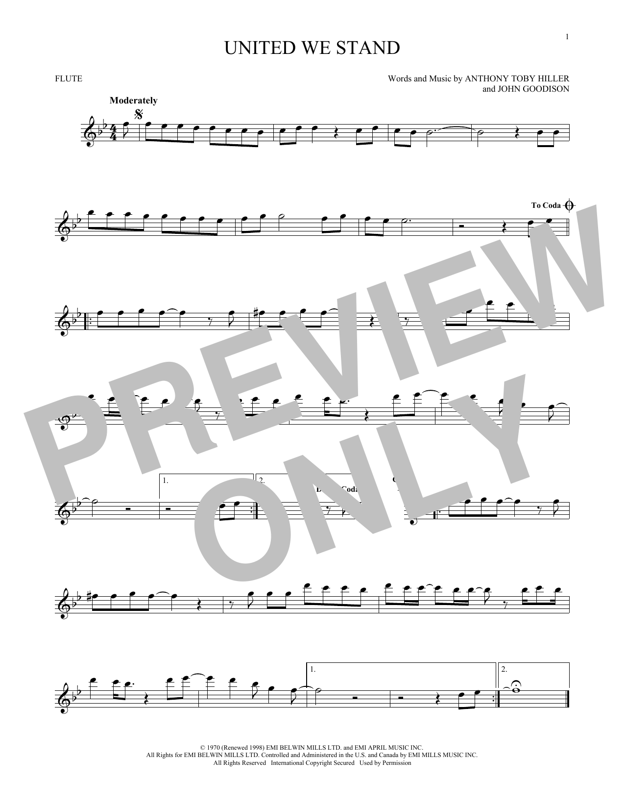 United We Stand Sheet Music