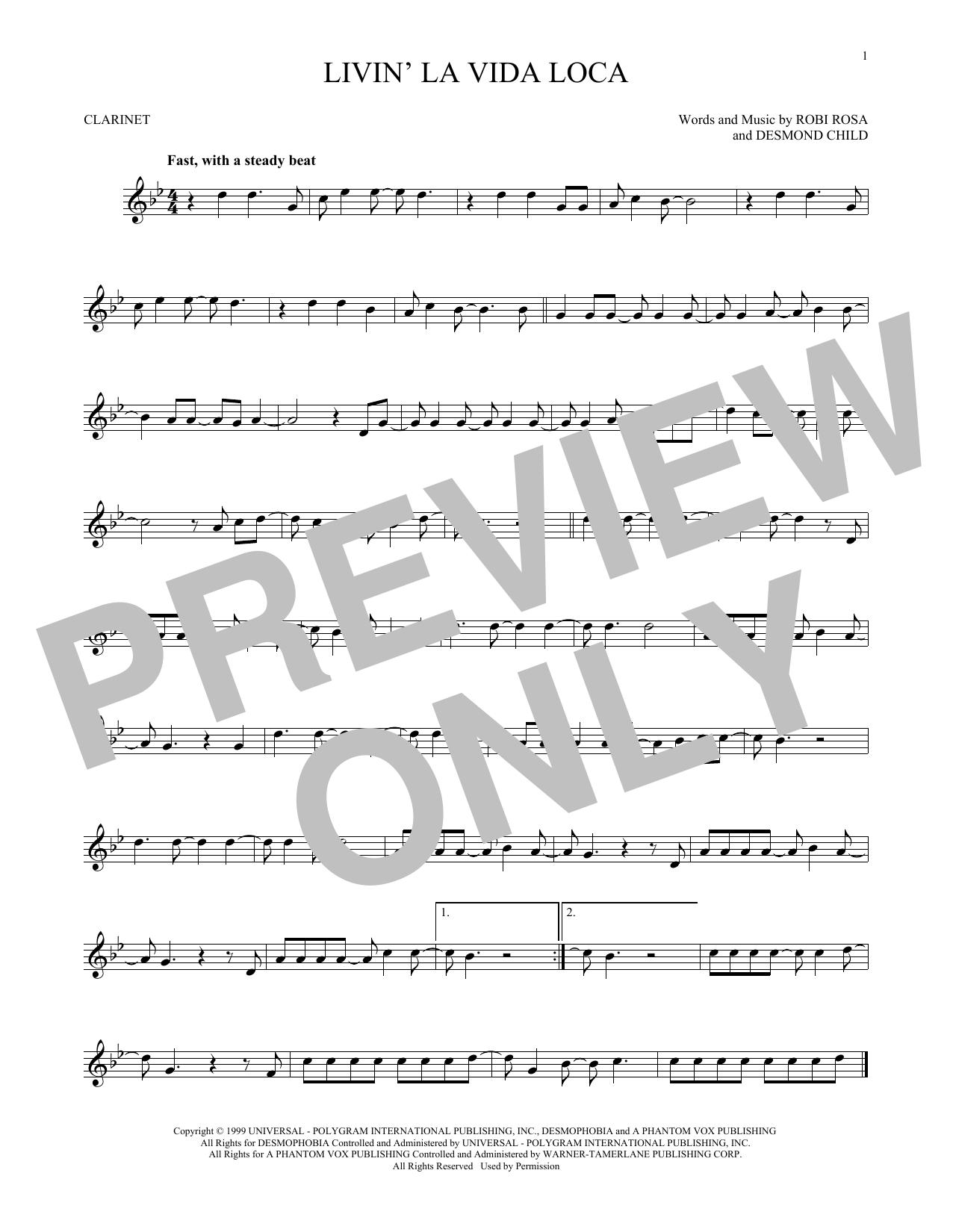 Partition clarinette Livin' La Vida Loca de Ricky Martin - Clarinette