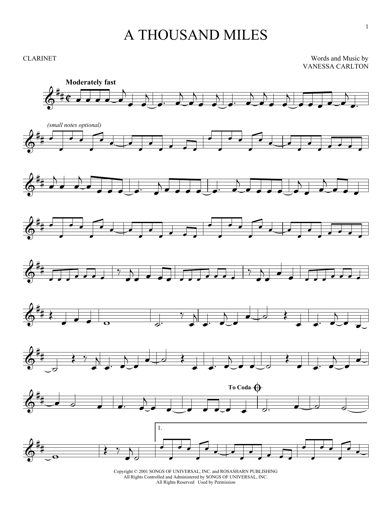 A Thousand Miles (Clarinet Solo)