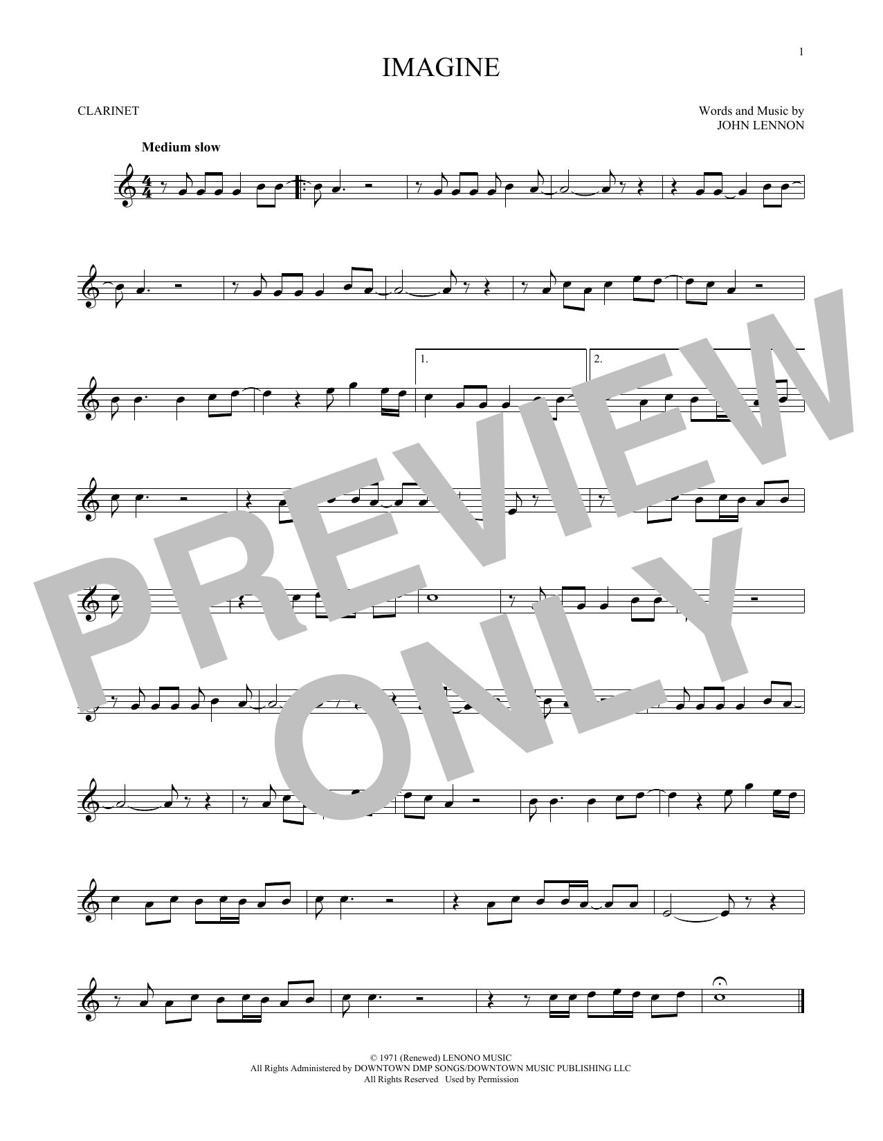 Partition clarinette Imagine de John Lennon - Clarinette