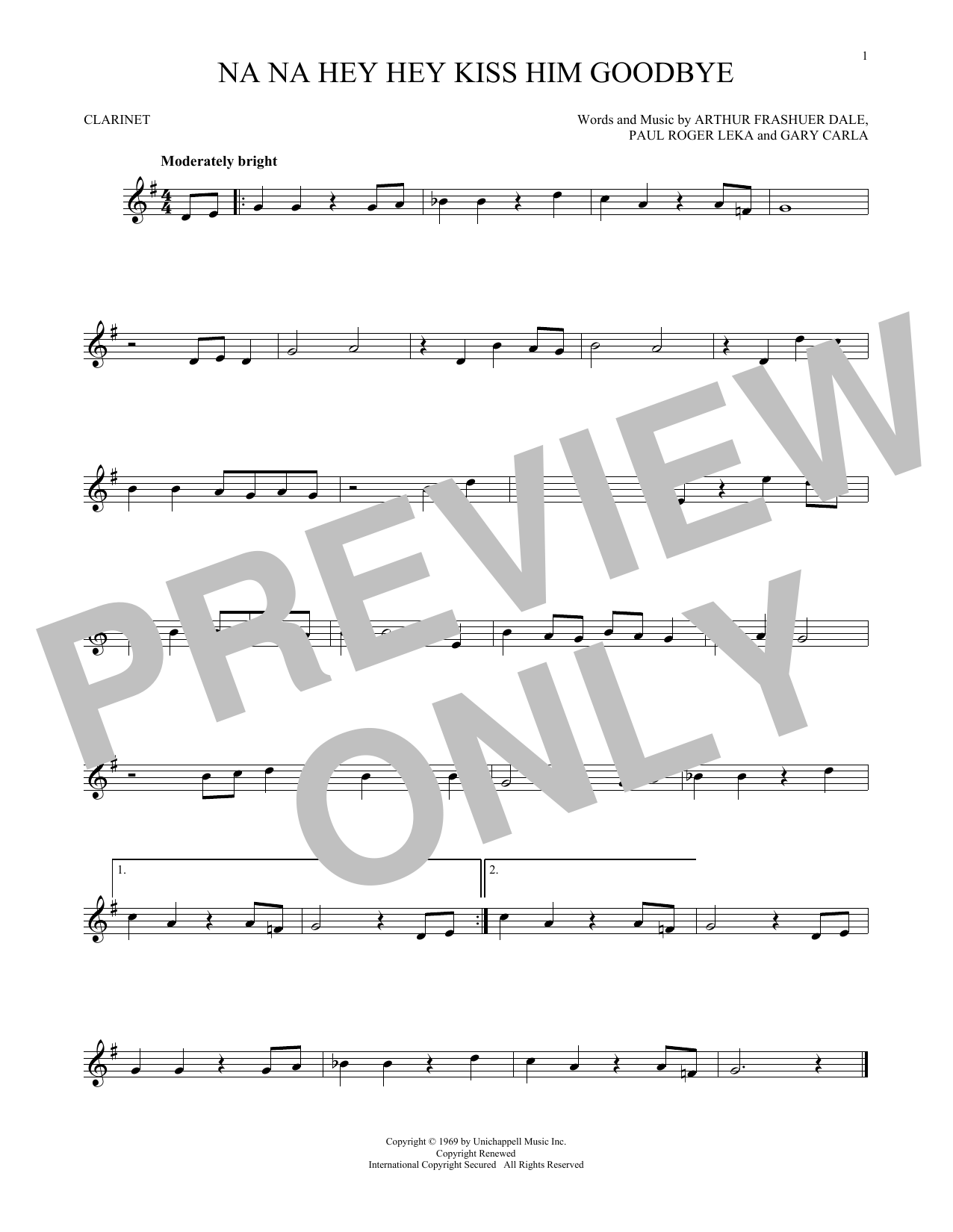 Partition clarinette Na Na Hey Hey Kiss Him Goodbye de Steam - Clarinette