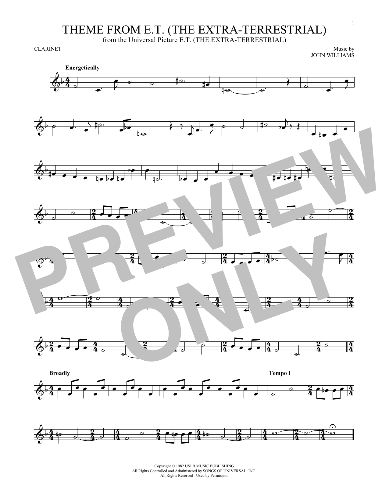 Theme From E.T. (The Extra-Terrestrial) (Clarinet Solo)
