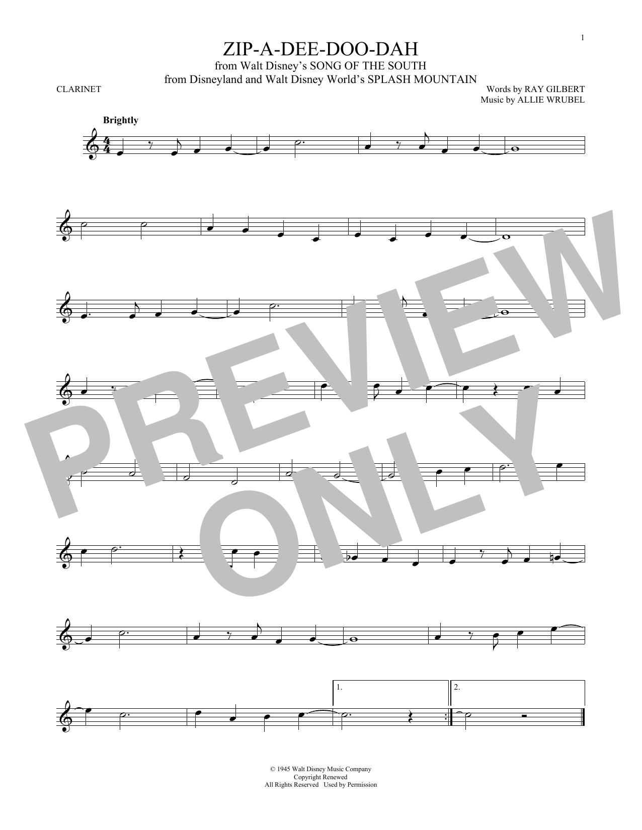 Partition clarinette Zip-A-Dee-Doo-Dah de Allie Wrubel - Autre