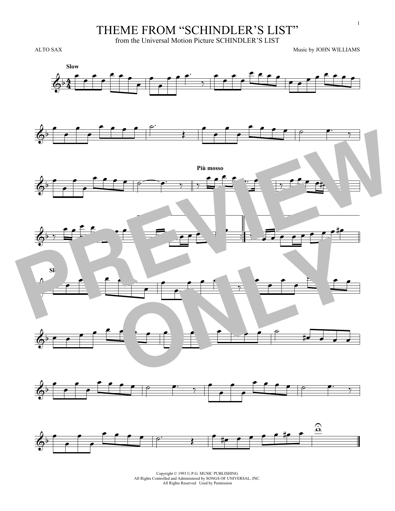 Theme From Schindler's List (Alto Sax Solo)