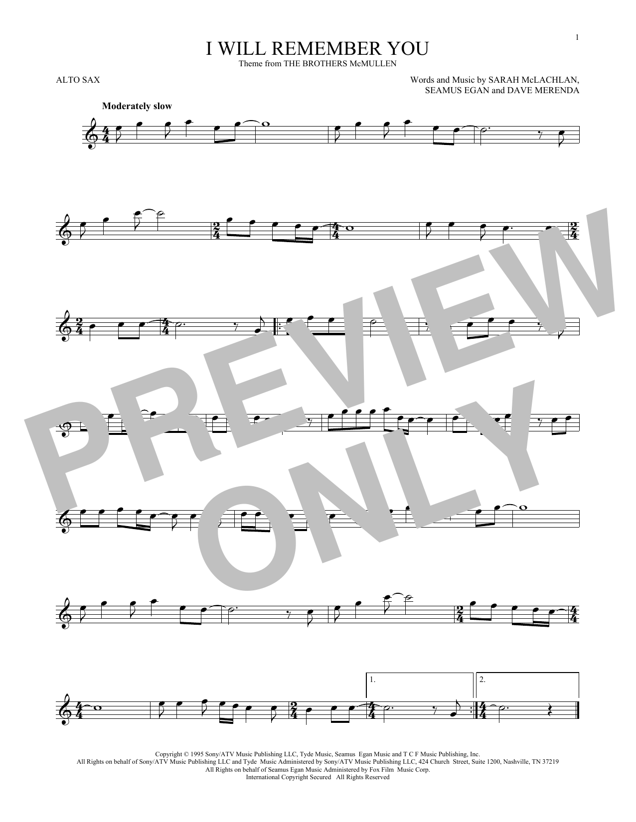 Partition saxophone I Will Remember You de Sarah McLachlan - Sax Alto