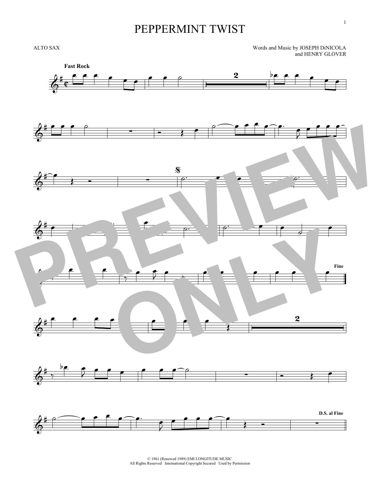 Partition saxophone Peppermint Twist de Joey Dee & The Starliters - Sax Alto