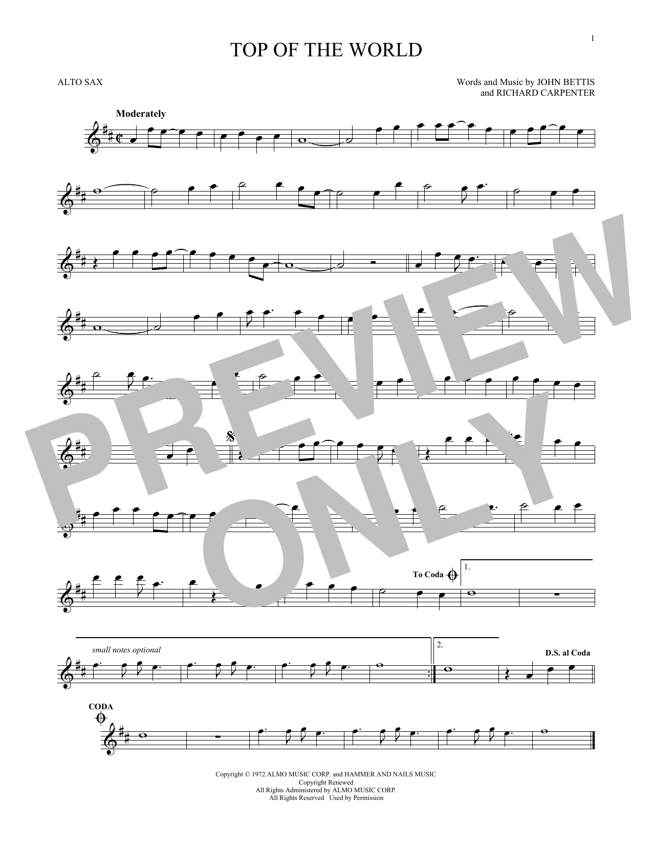 Partition saxophone Top Of The World de The Carpenters - Sax Alto