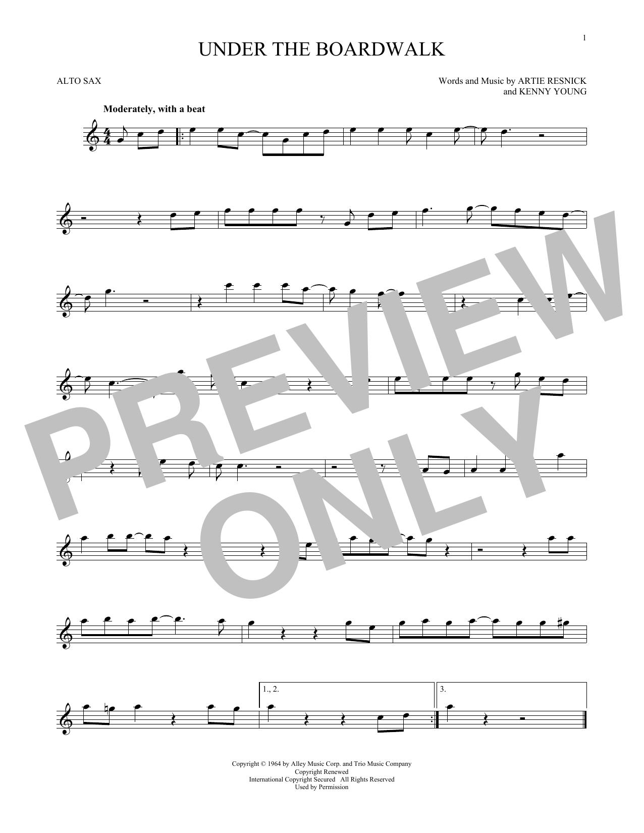 Partition saxophone Under The Boardwalk de The Drifters - Sax Alto