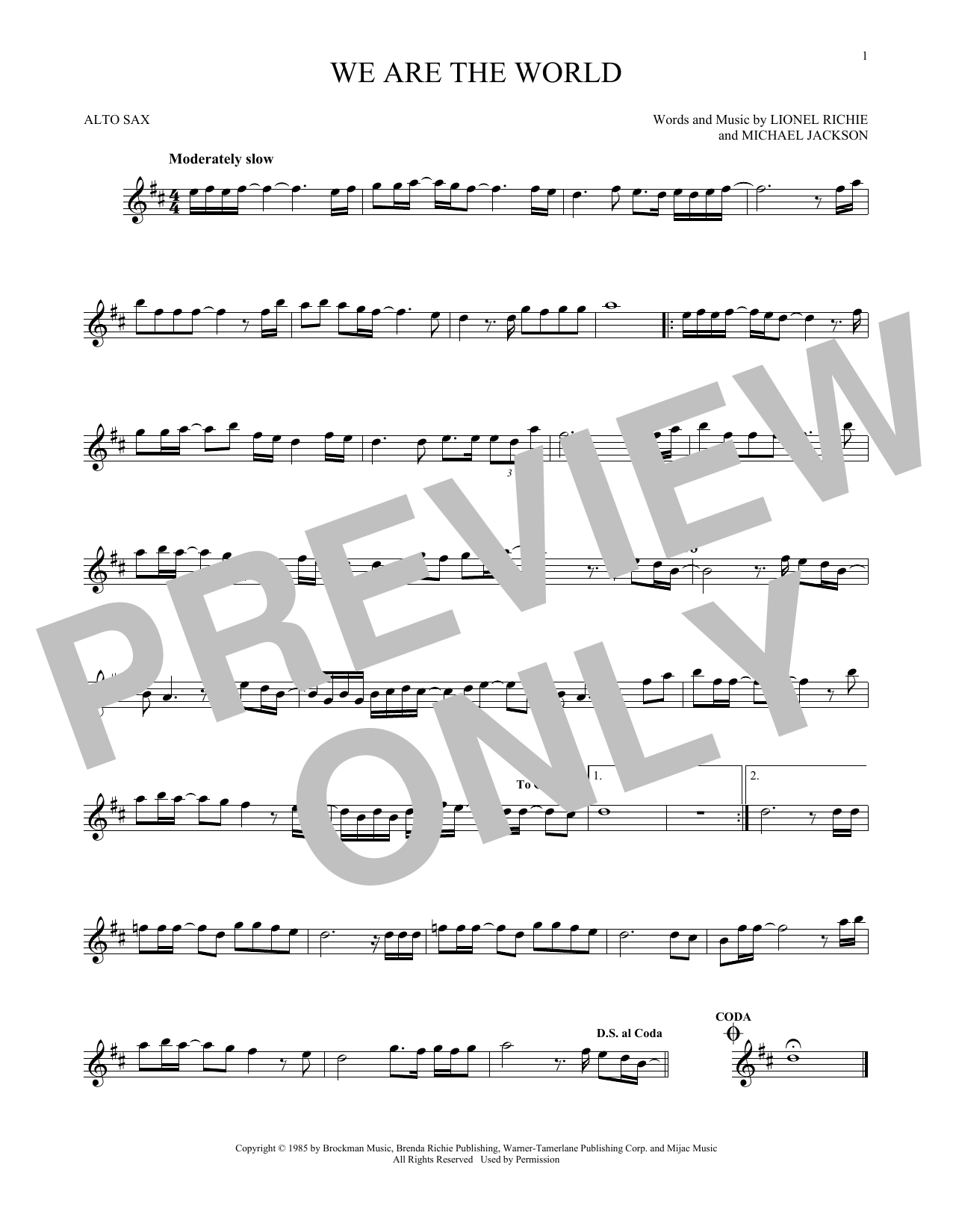 We Are The World Sheet Music
