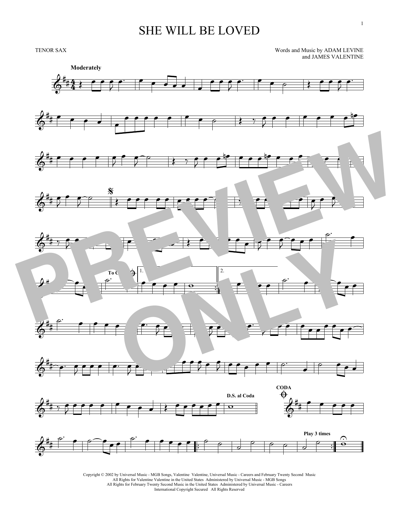Partition saxophone She Will Be Loved de Maroon 5 - Sax Tenor