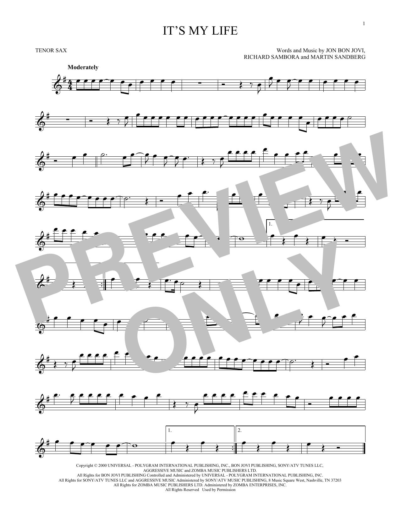 Partition saxophone It's My Life de Bon Jovi - Sax Tenor