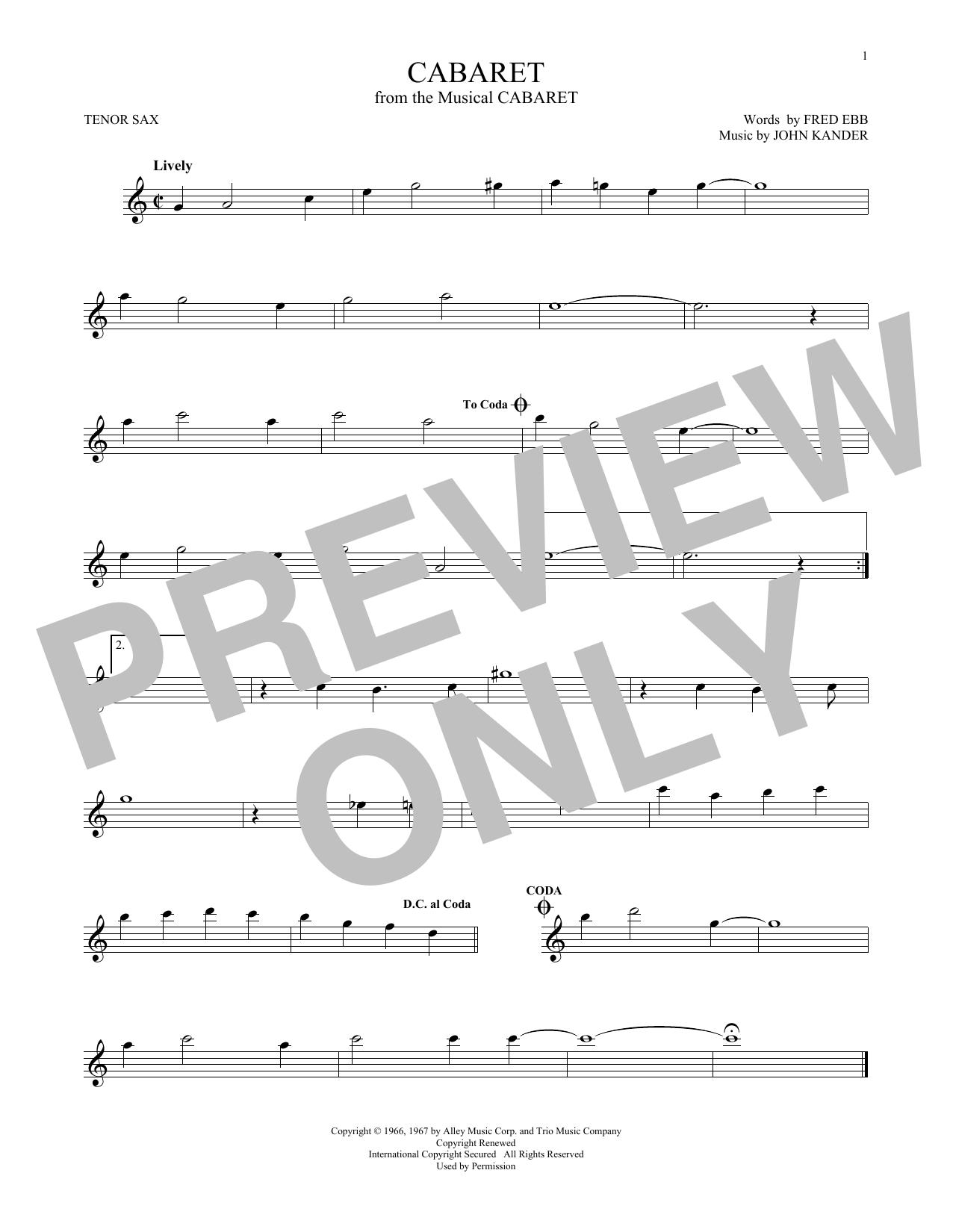 Partition saxophone Cabaret de Kander & Ebb - Sax Tenor
