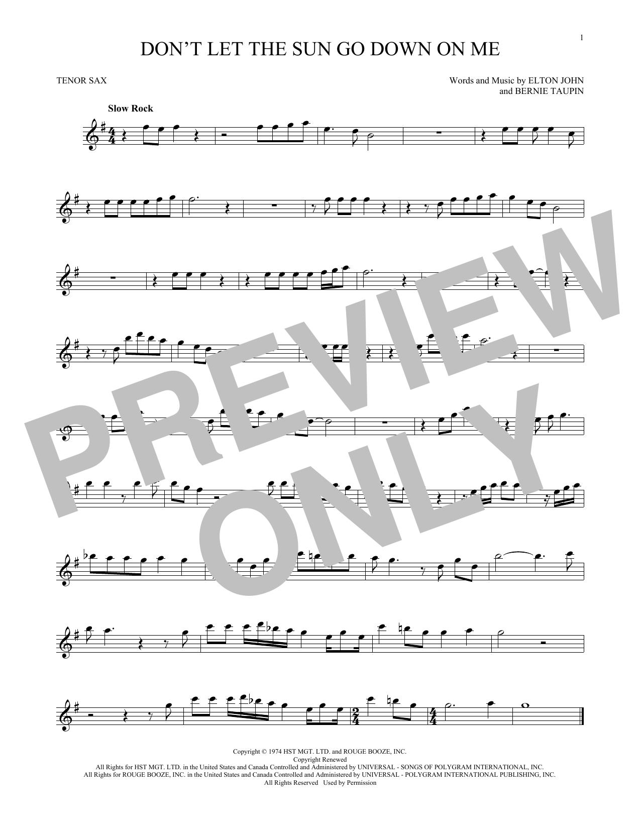 Partition saxophone Don't Let The Sun Go Down On Me de Elton John & George Michael - Sax Tenor