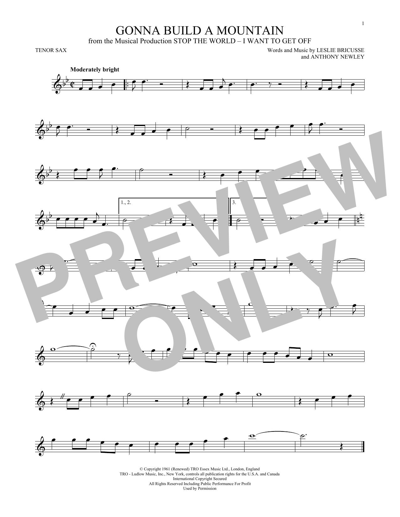 Partition saxophone Gonna Build A Mountain de Leslie Bricusse - Sax Tenor