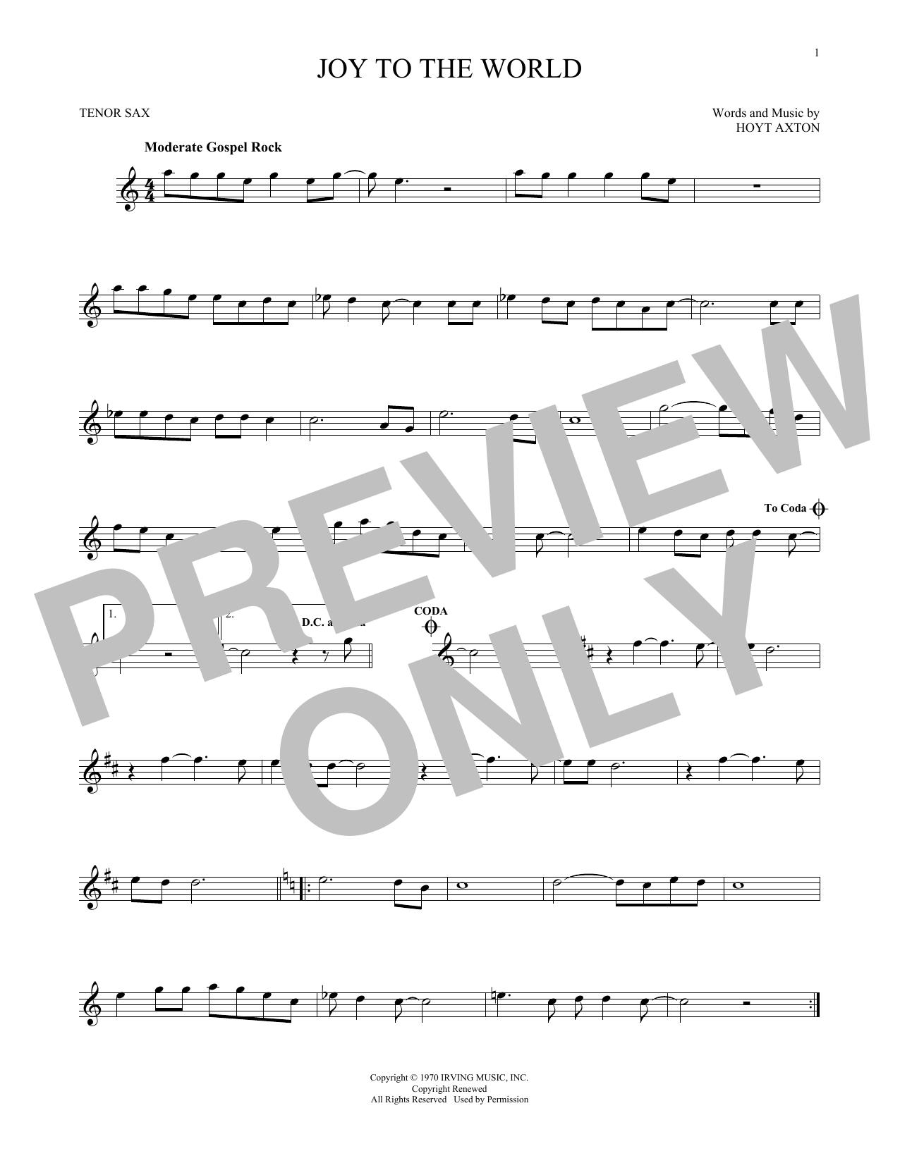Partition saxophone Joy To The World de Three Dog Night - Sax Tenor