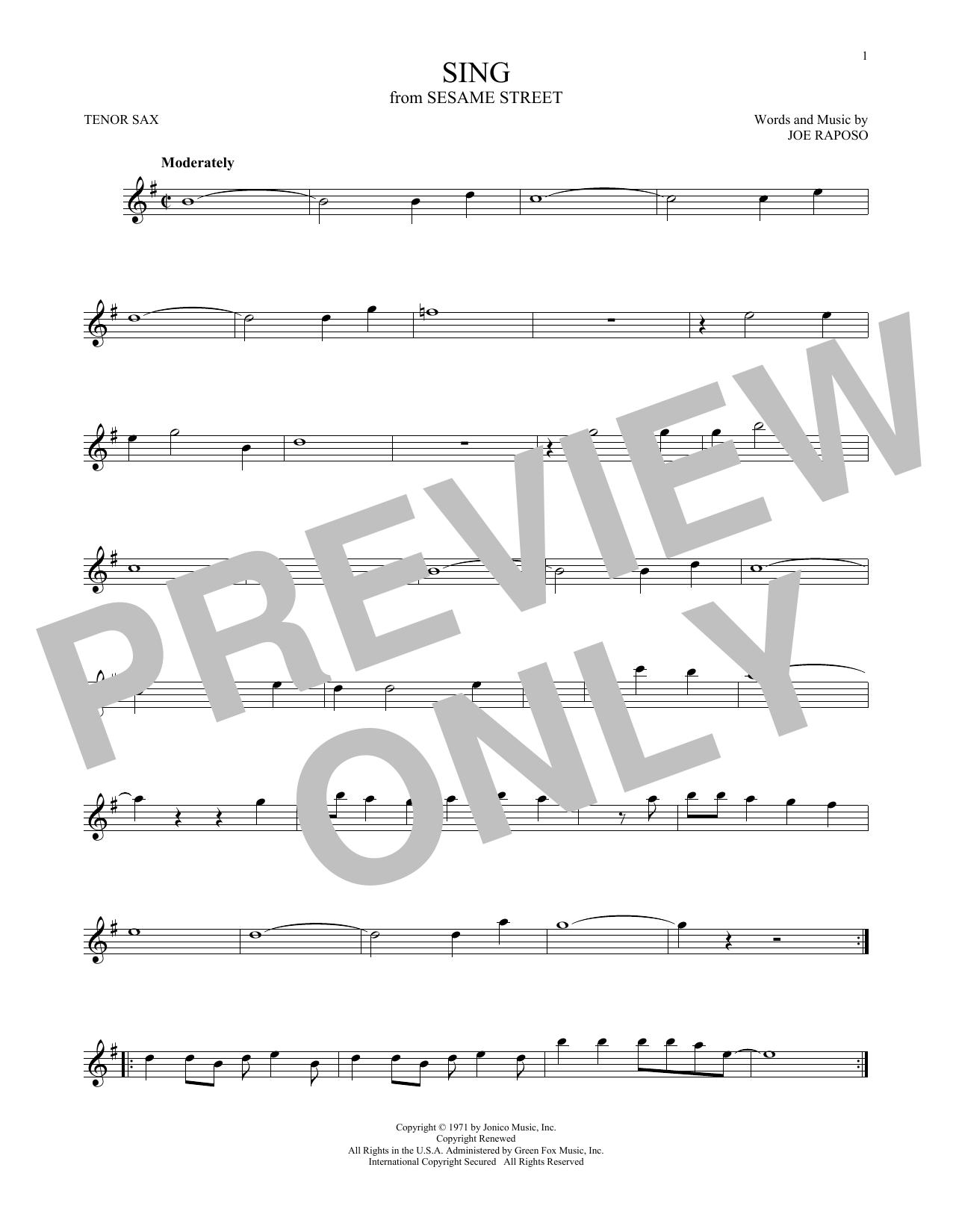 Sing (Tenor Sax Solo)