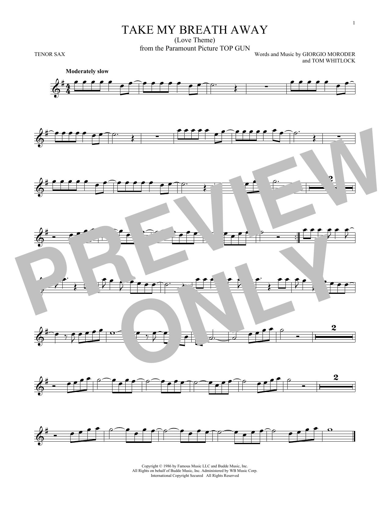 Take My Breath Away (Love Theme) (Tenor Sax Solo)