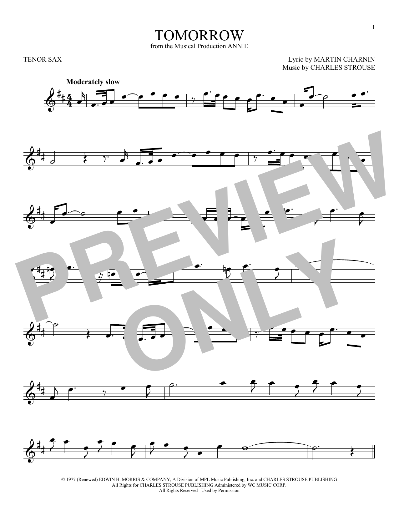Partition saxophone Tomorrow de Charles Strouse - Sax Tenor