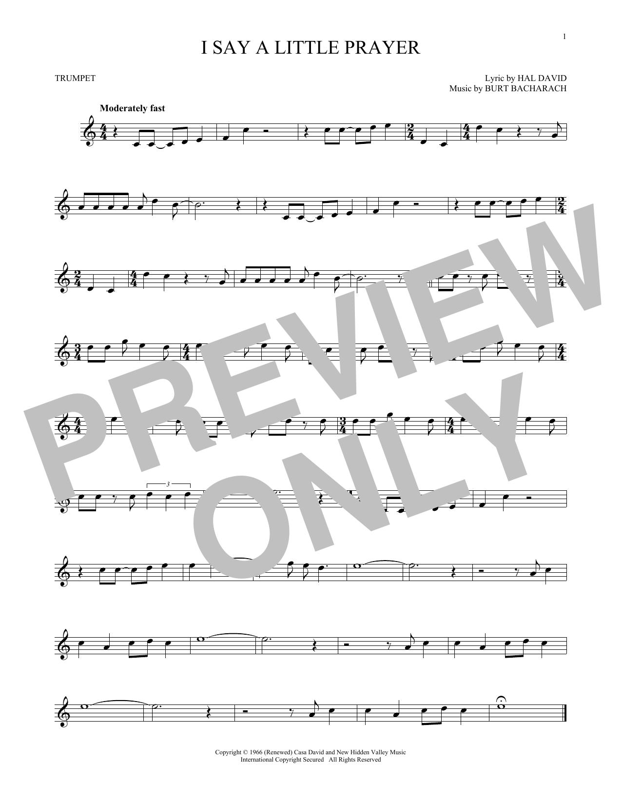 Partition autre I Say A Little Prayer de Bacharach & David - Trompette