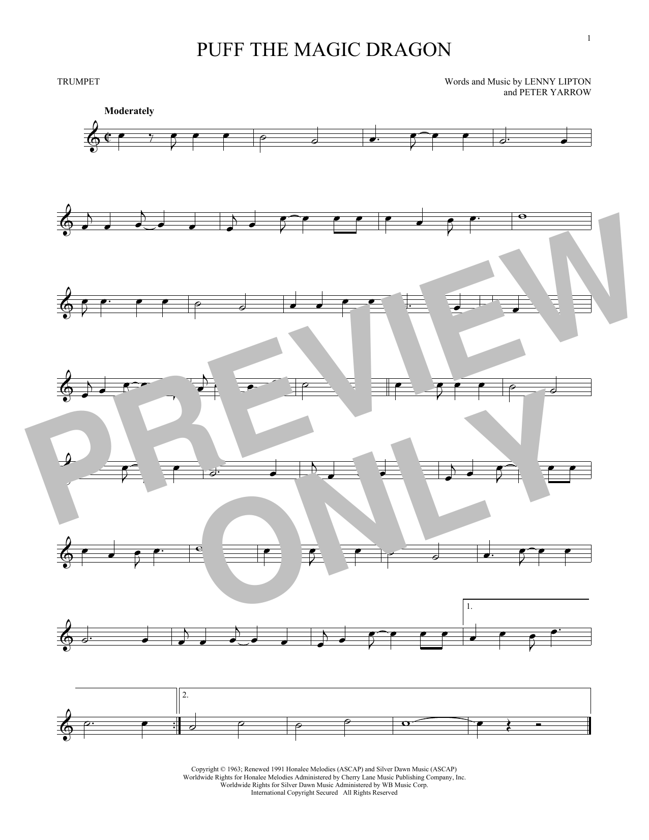 Partition autre Puff The Magic Dragon de Peter, Paul & Mary - Trompette