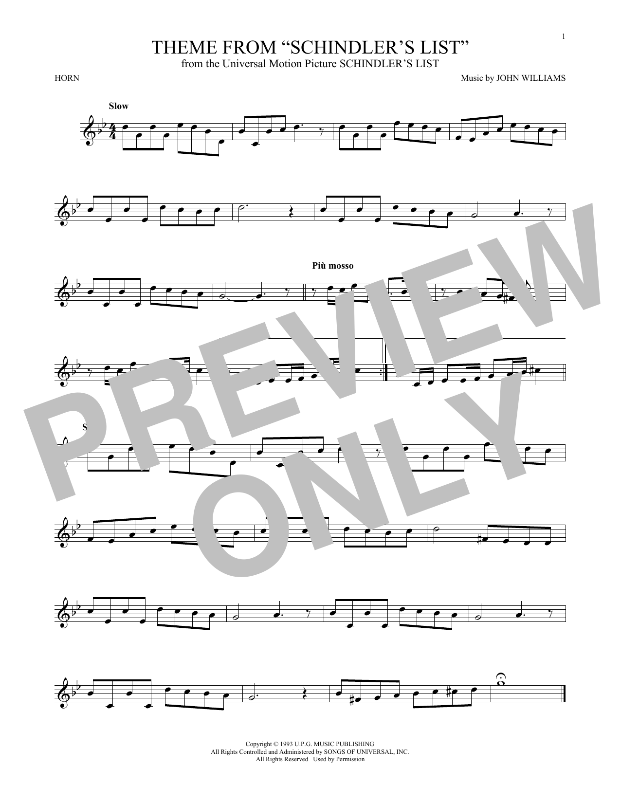 Theme From Schindler's List Sheet Music