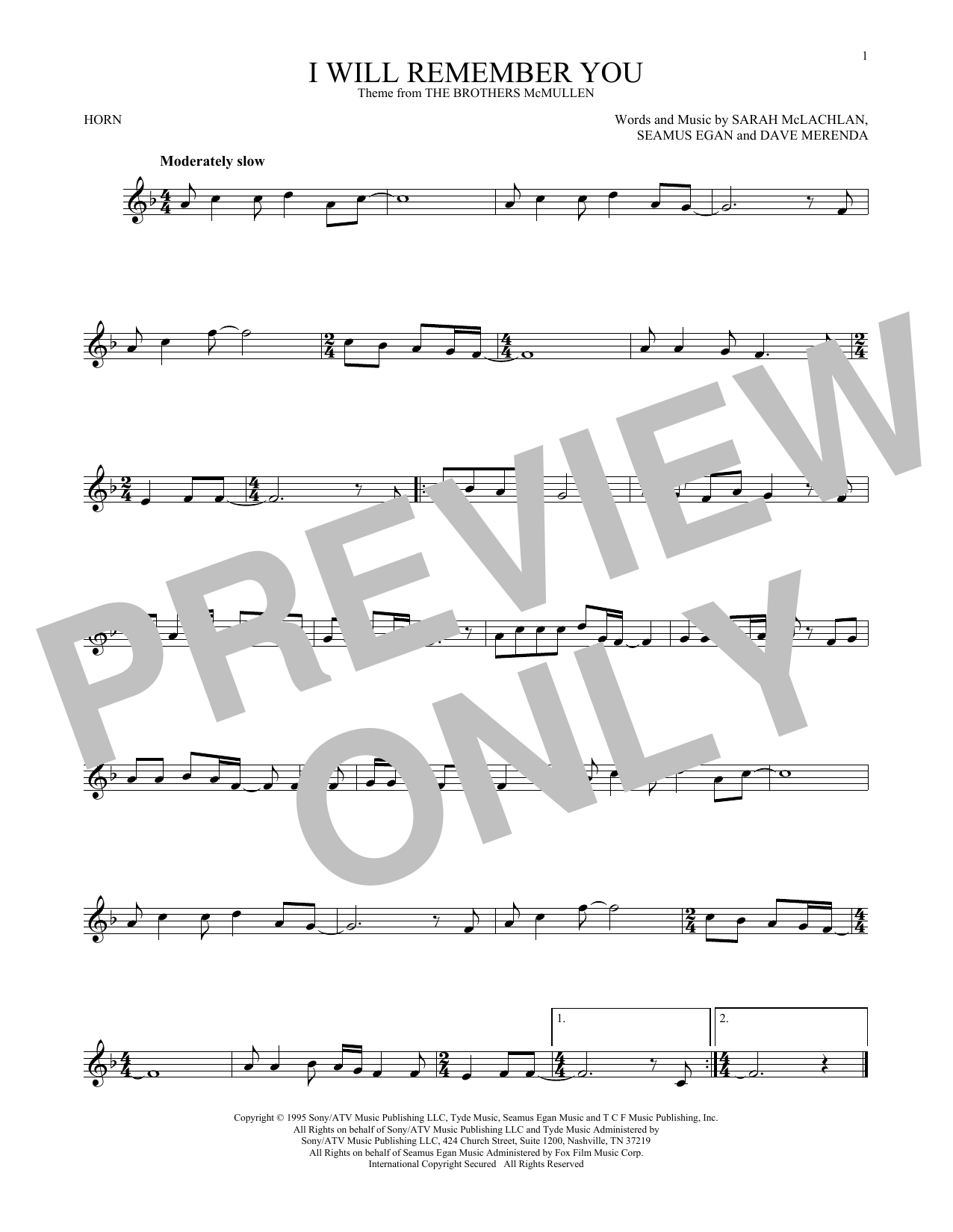 I Will Remember You Sheet Music