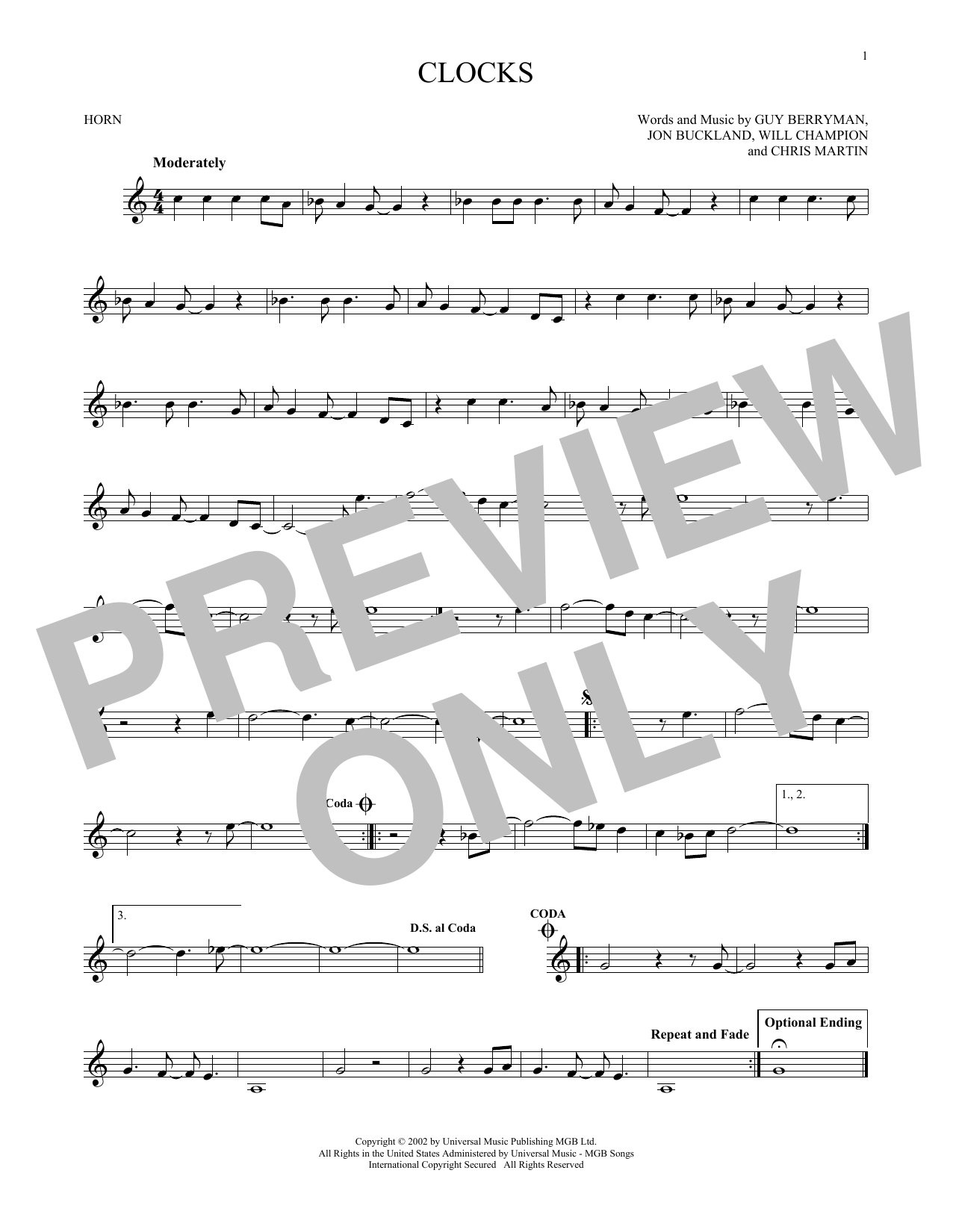 Clocks (French Horn Solo)