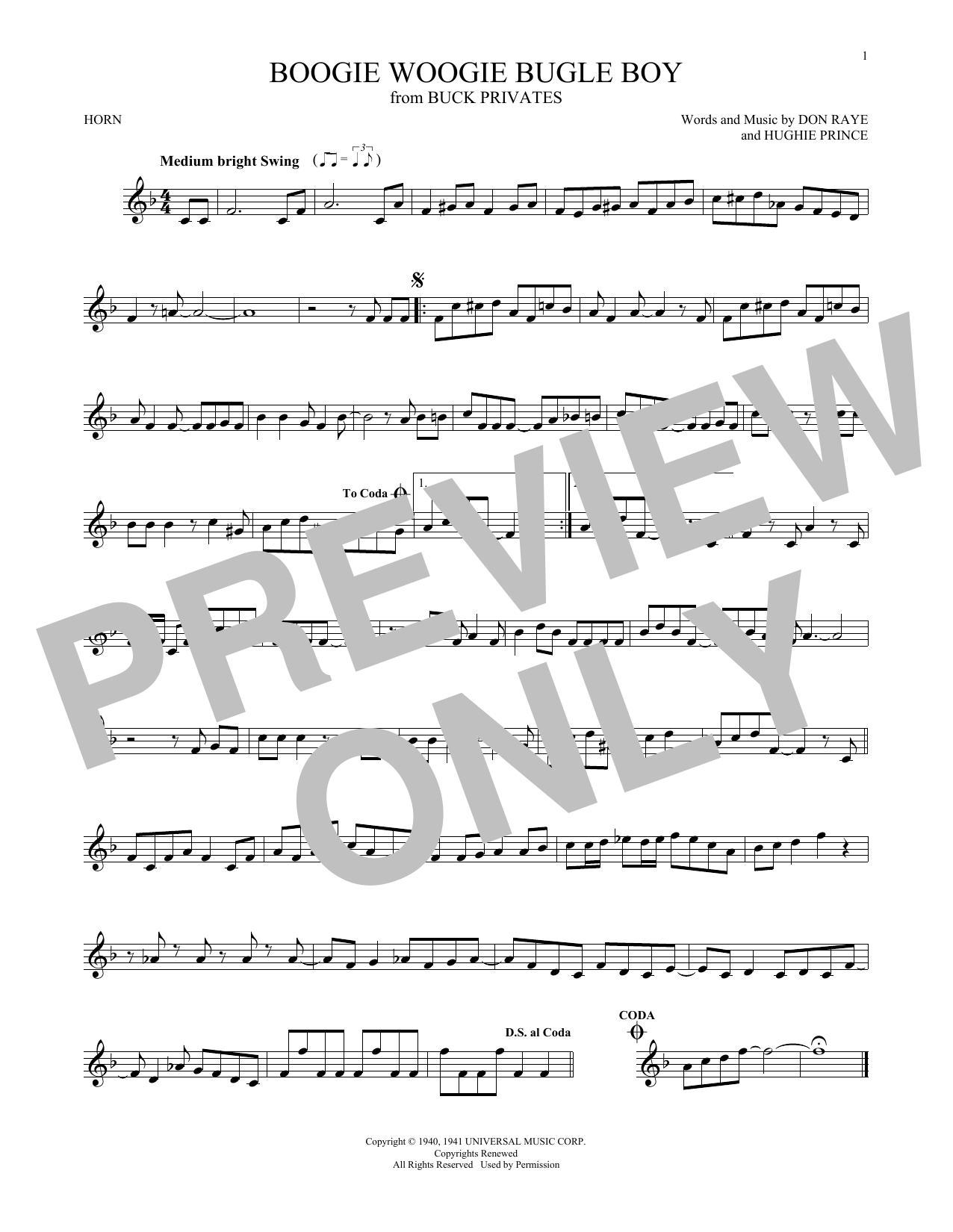 Boogie Woogie Bugle Boy (French Horn)