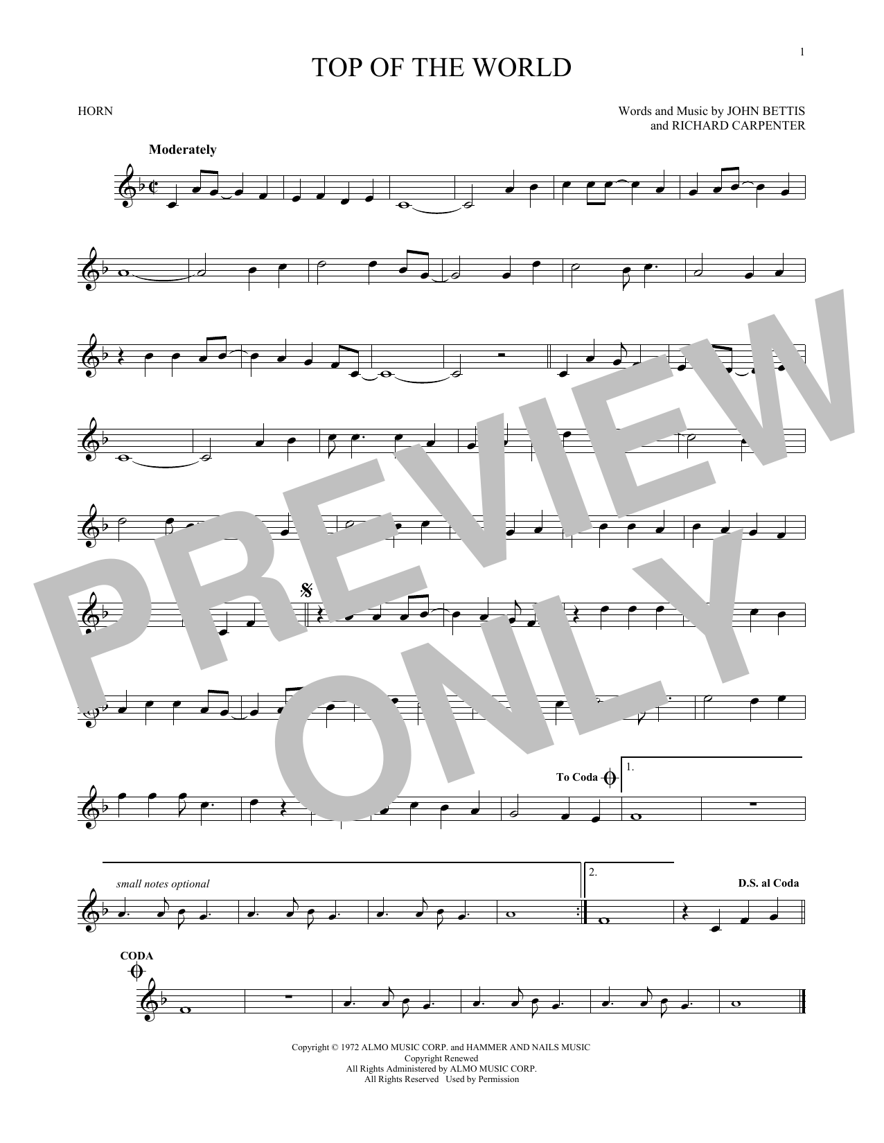 Top Of The World Sheet Music