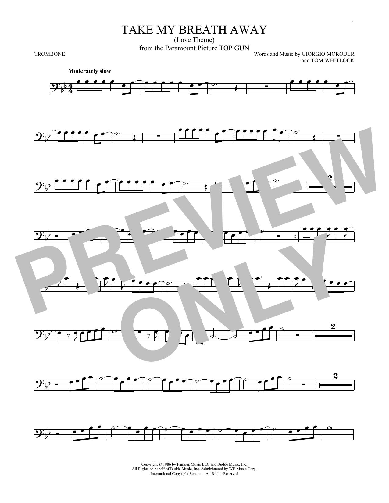 Partition autre Take My Breath Away (Love Theme) de Giorgio Moroder - Trombone