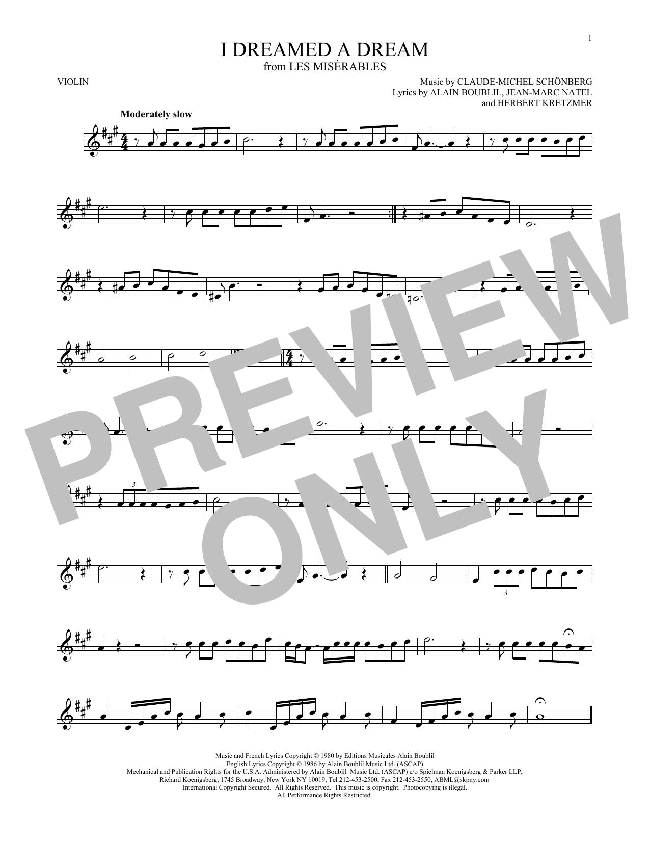 I Dreamed A Dream (Violin Solo)