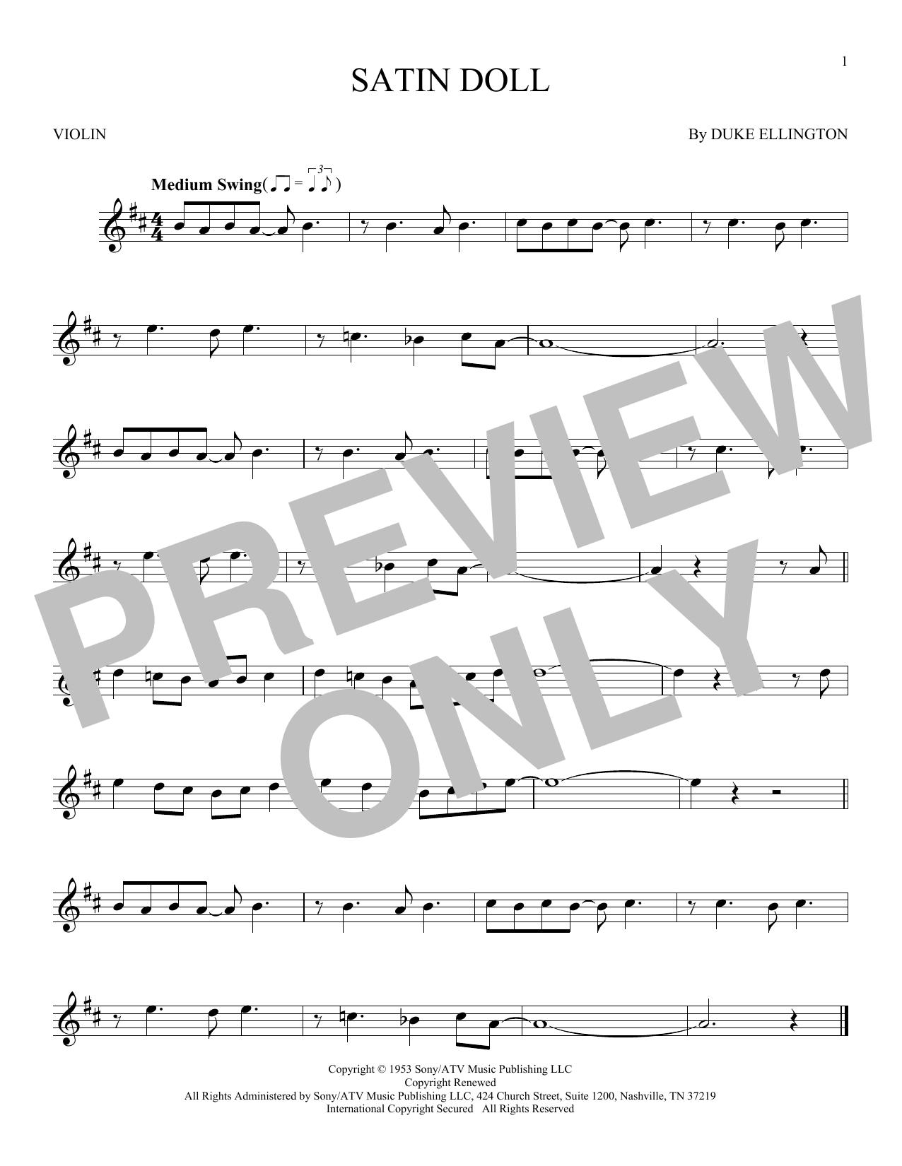 Partition autre Satin Doll de Duke Ellington - Violon
