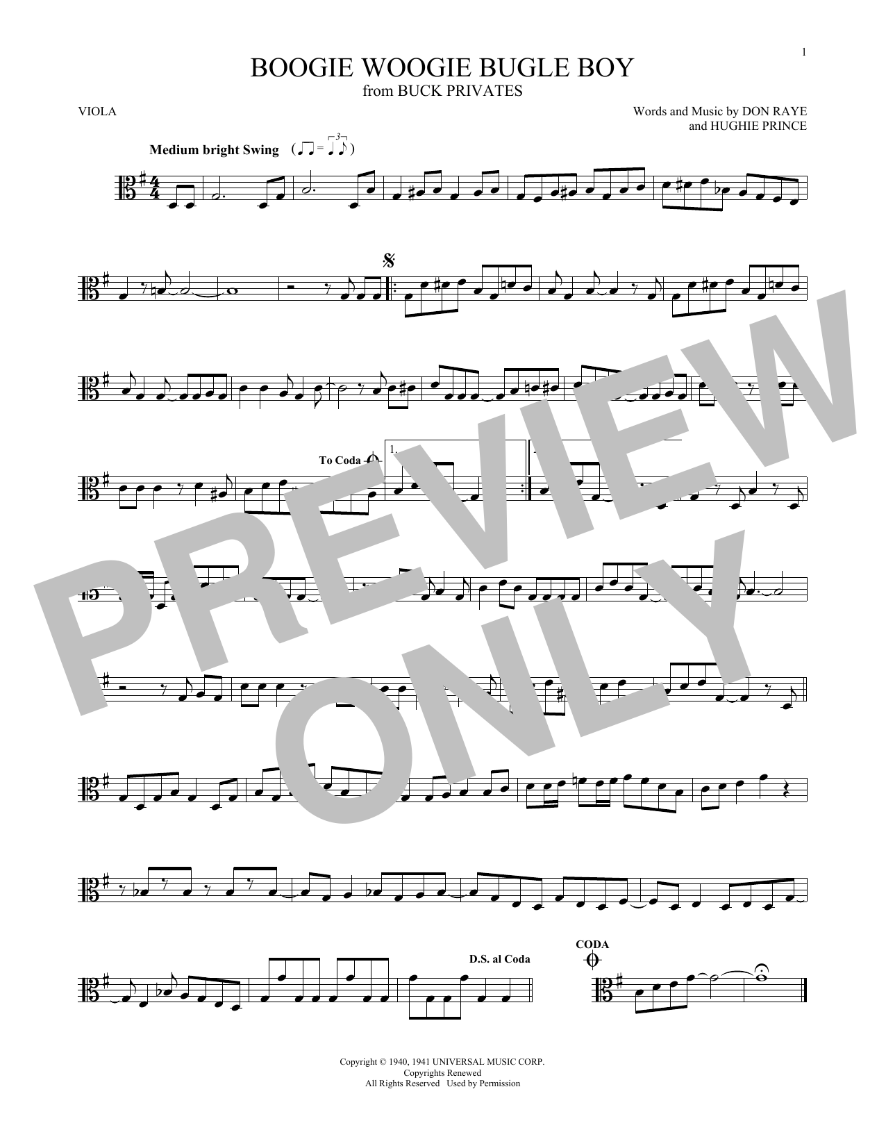 Boogie Woogie Bugle Boy Sheet Music