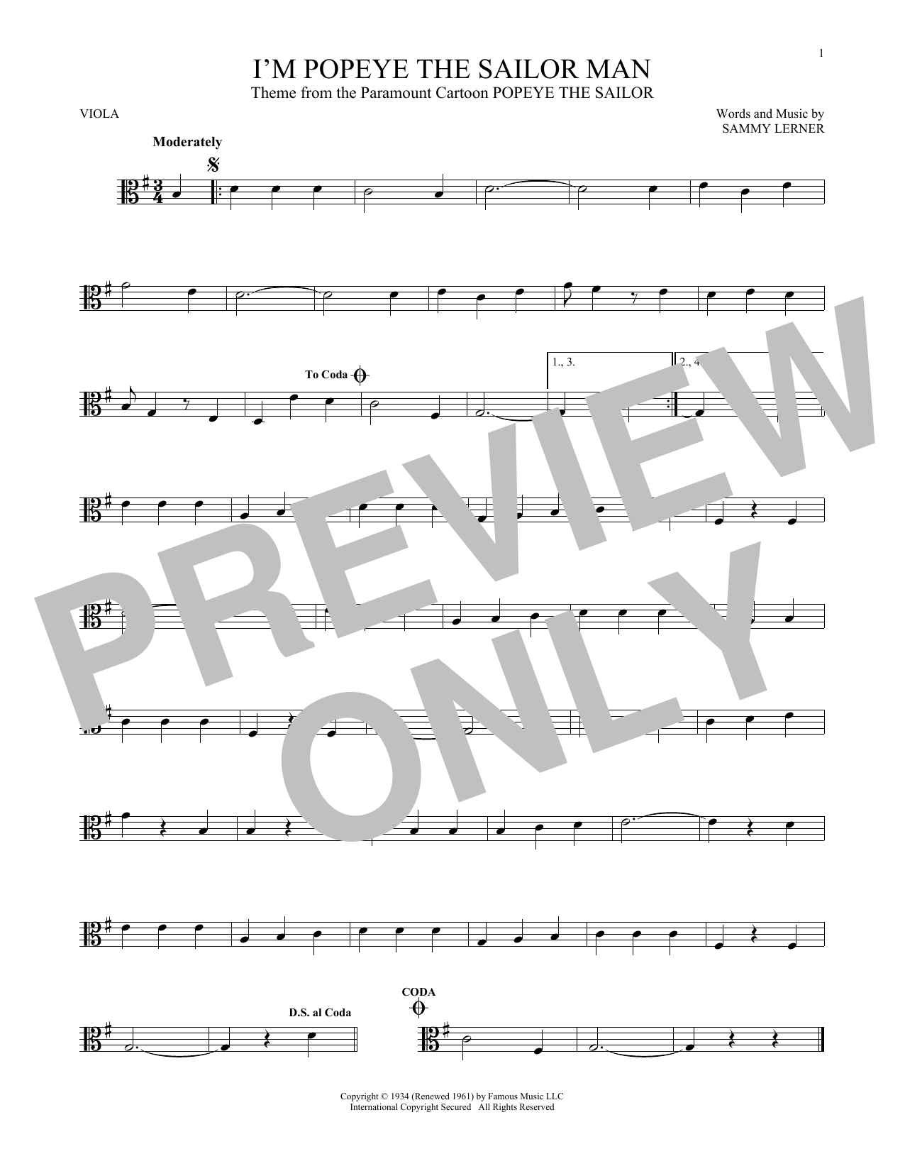 I'm Popeye The Sailor Man Sheet Music