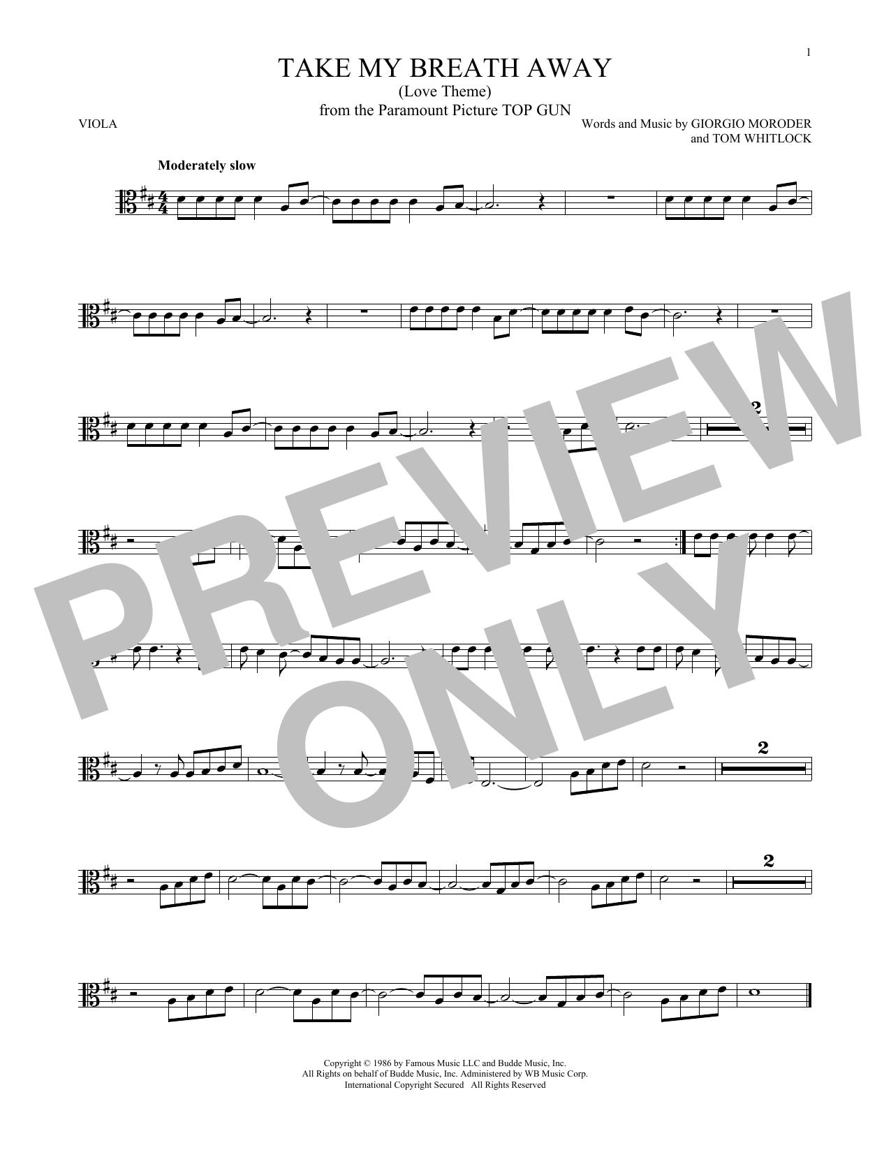 Partition autre Take My Breath Away (Love Theme) de Giorgio Moroder - Alto