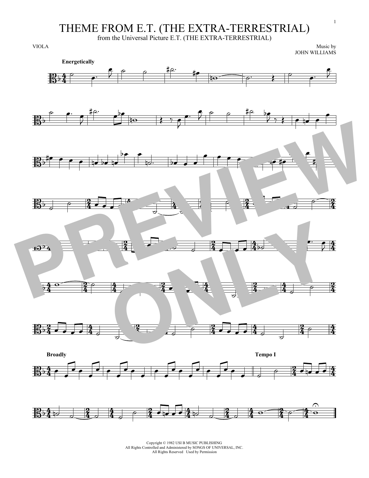 Theme From E.T. (The Extra-Terrestrial) (Viola Solo)