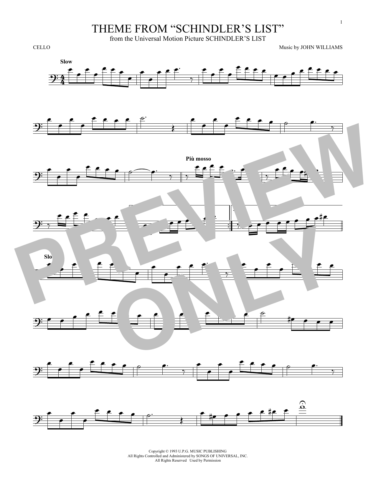 Theme From Schindler's List (Cello Solo)