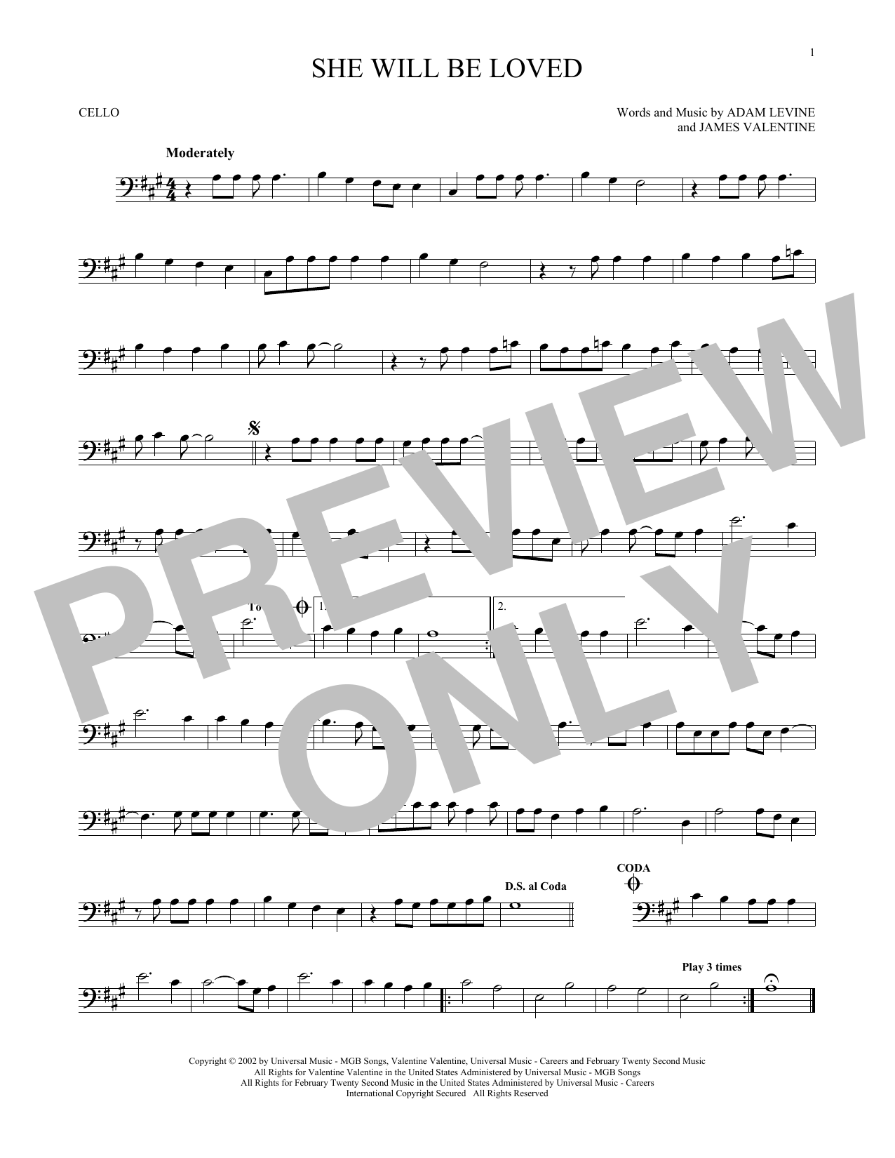 Partition autre She Will Be Loved de Maroon 5 - Violoncelle