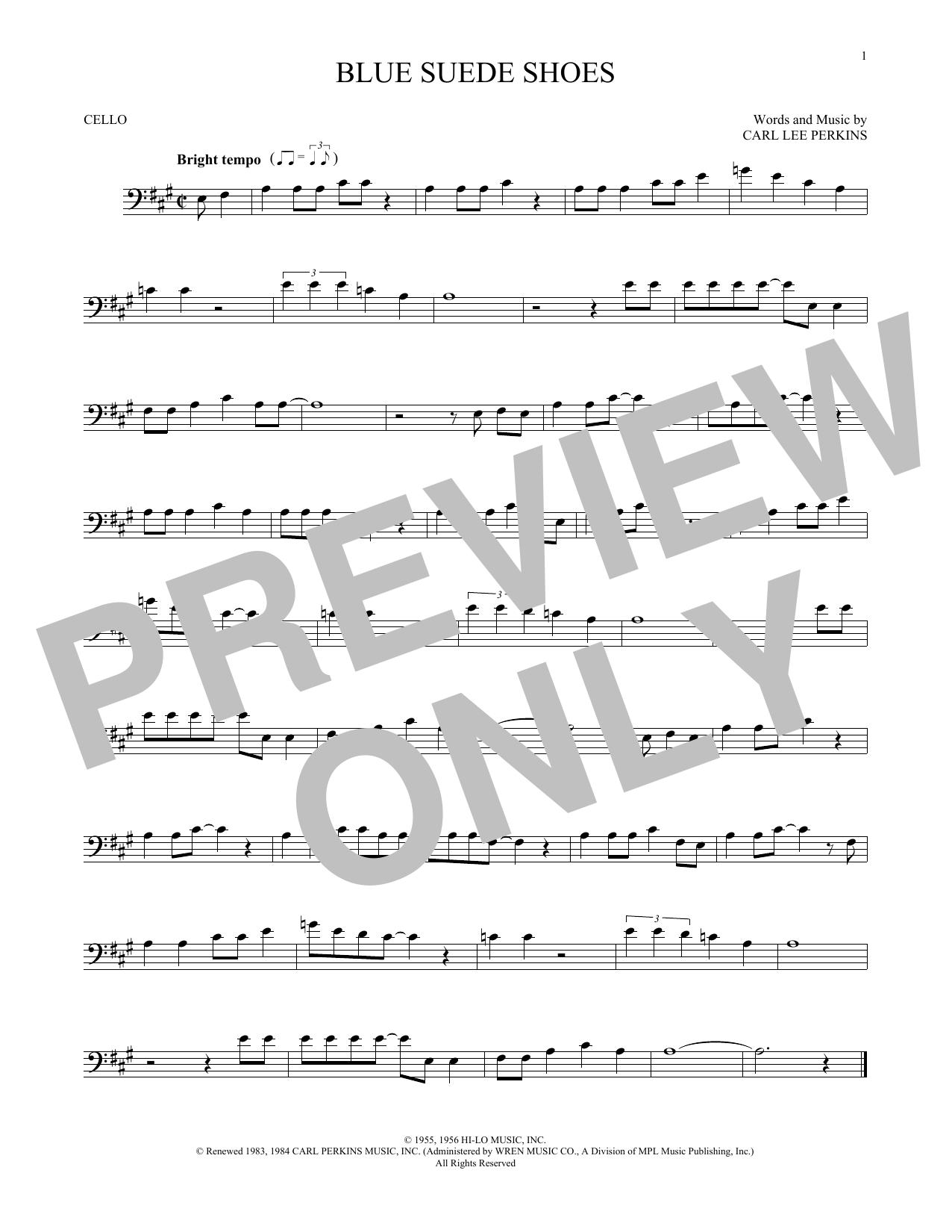 Partition autre Blue Suede Shoes de Carl Perkins - Violoncelle