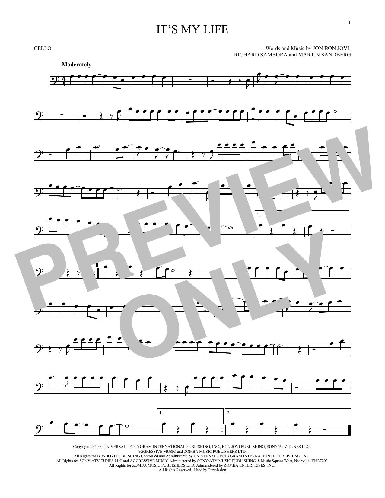 Partition autre It's My Life de Bon Jovi - Violoncelle