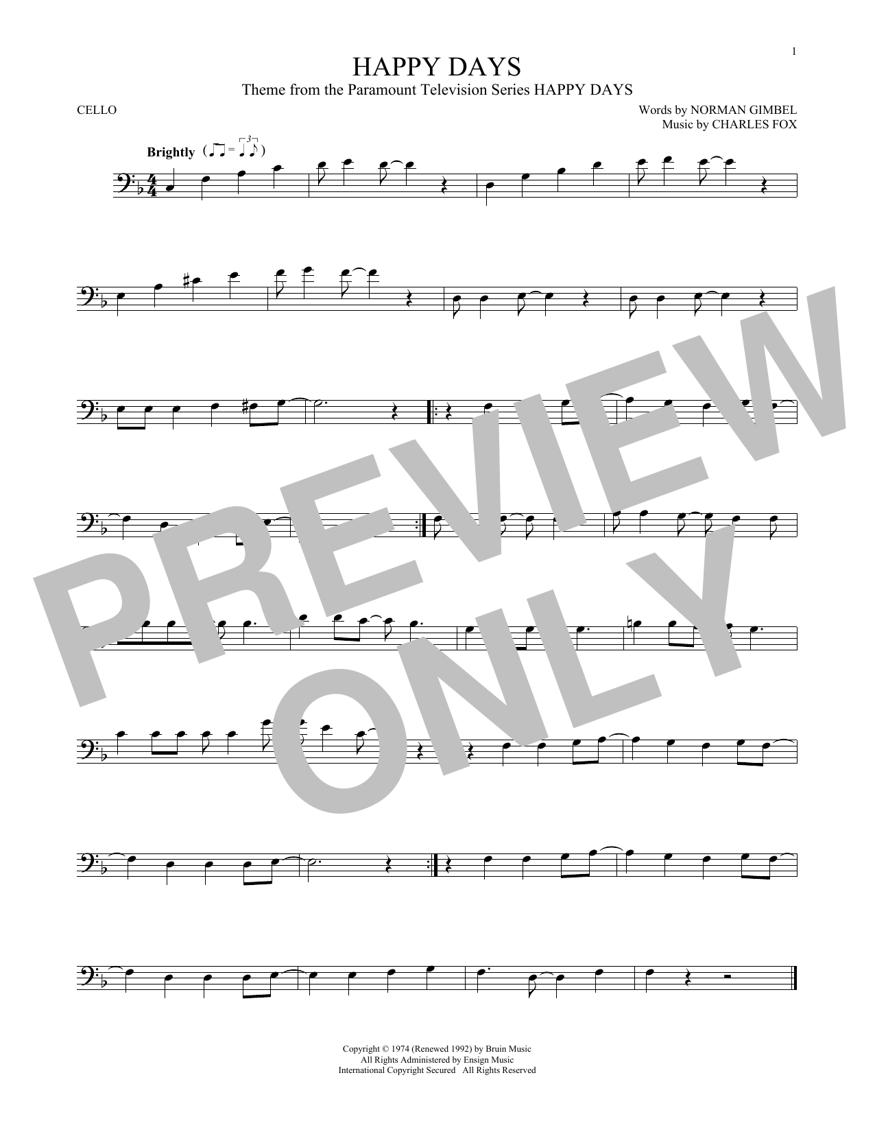 Happy Days (from the TV series) Sheet Music